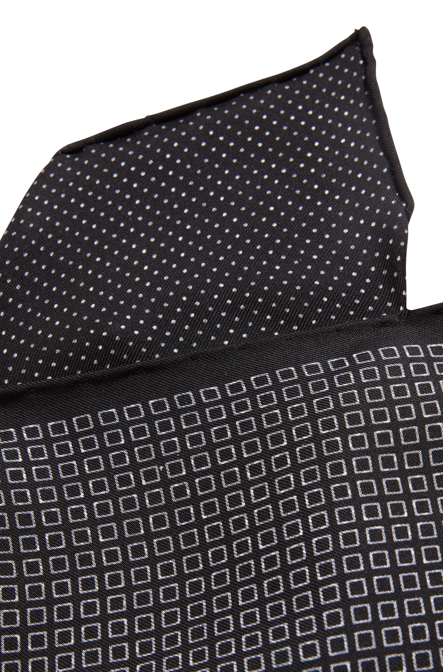 Reversible pocket square in printed silk, Patterned
