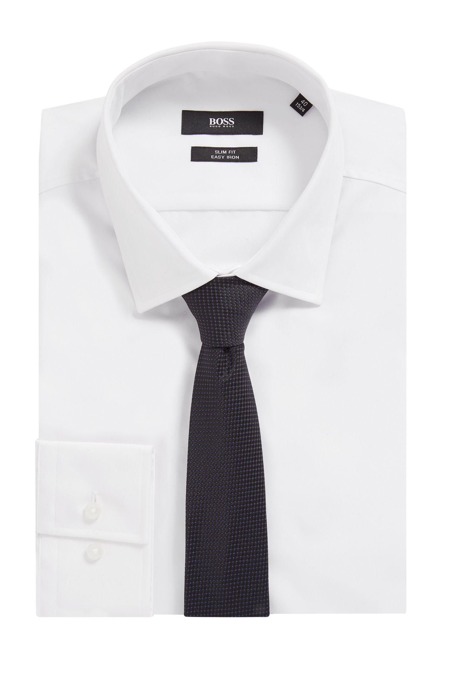 Cravate en jacquard de soie confectionnée en Italie, à micromotif, Noir