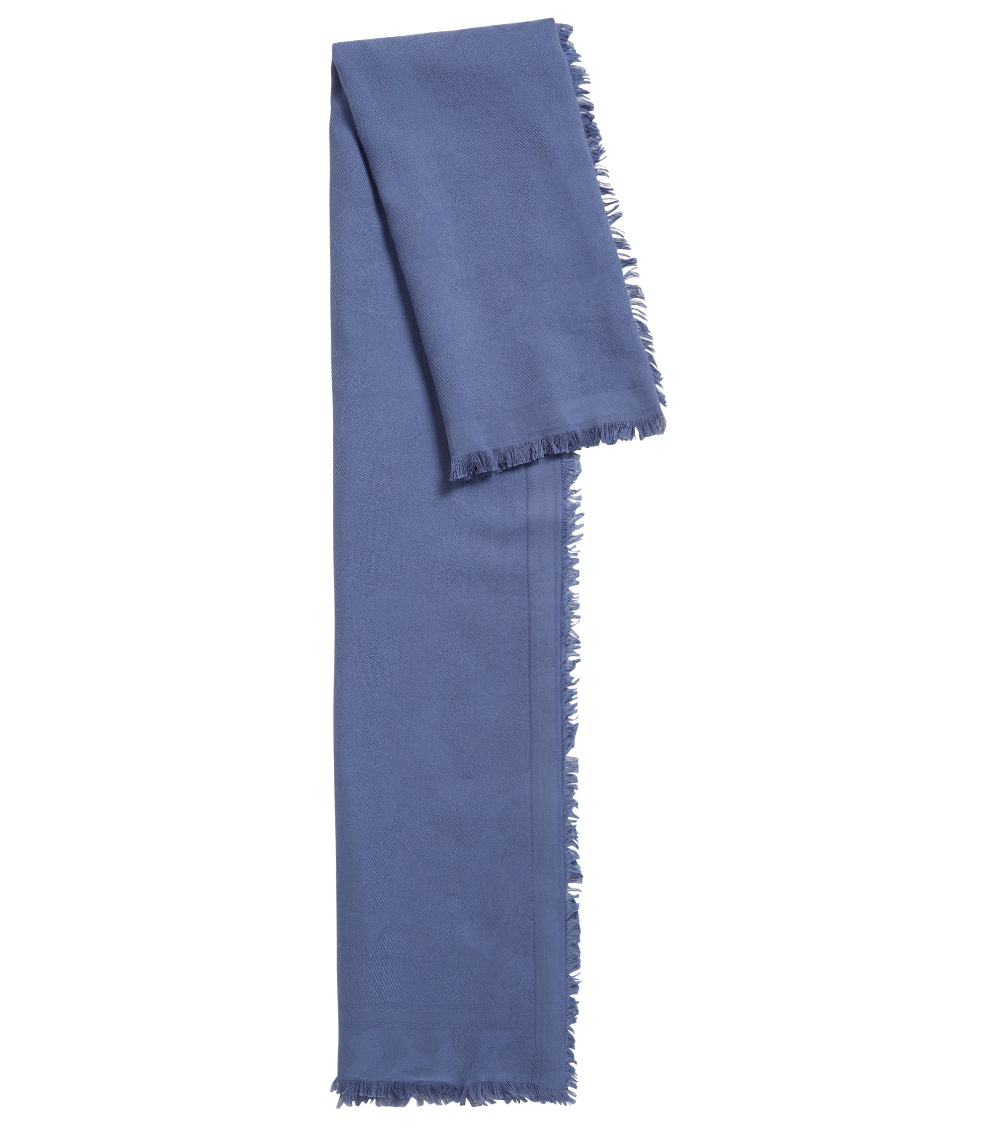 Fringed scarf in a cotton blend with jacquard pattern, Blue