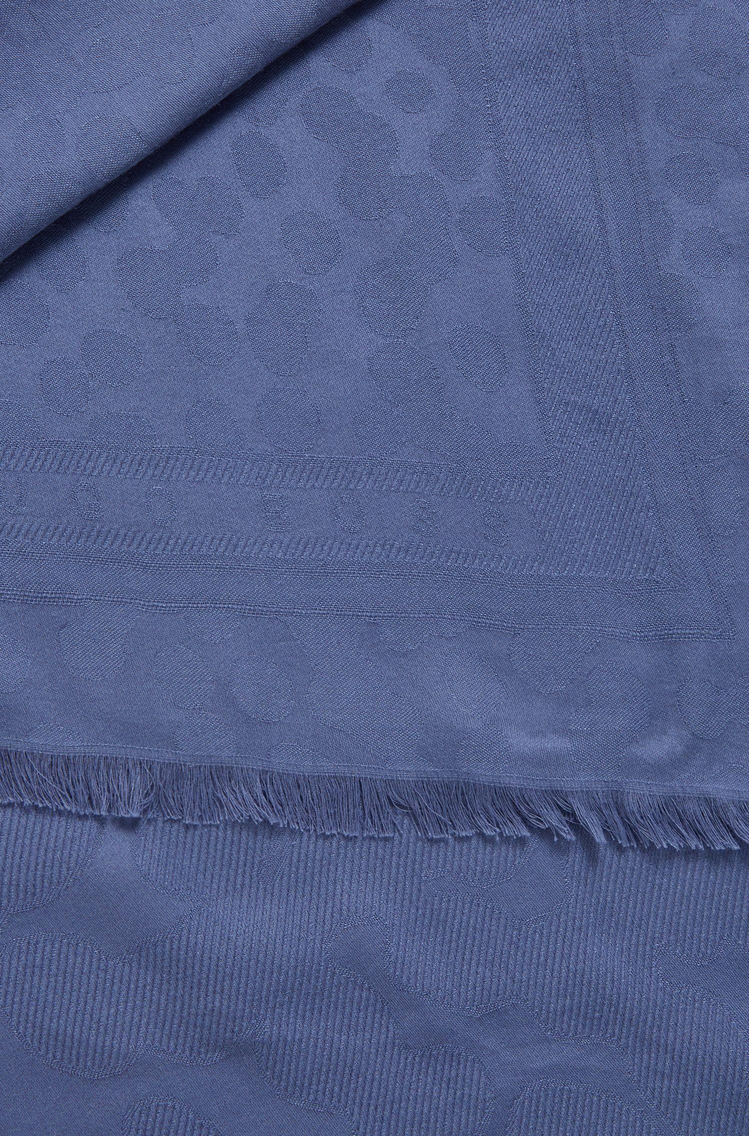 Sjaal van een katoenmix met franjes en jacquardgeweven dessin, Blauw