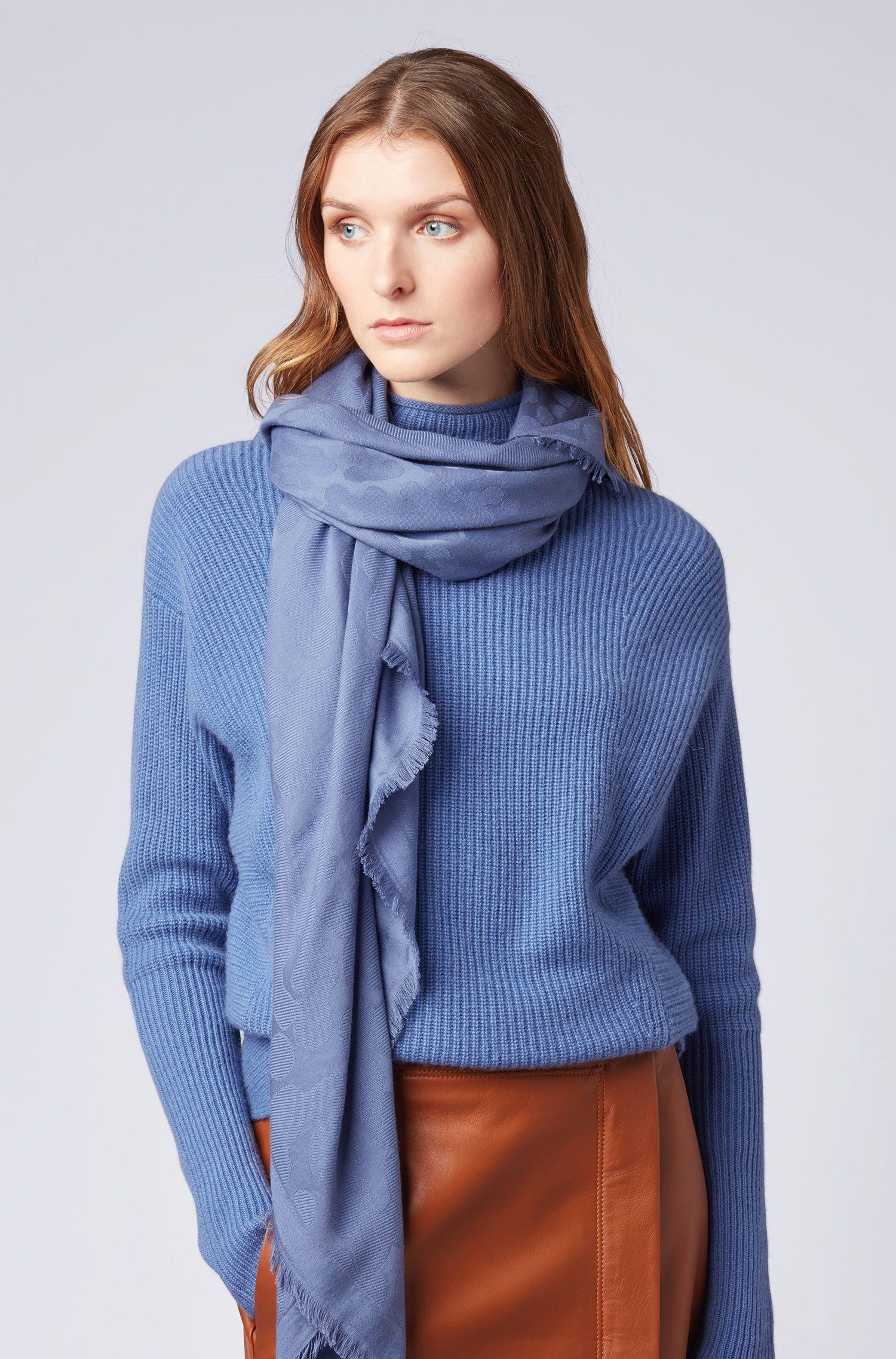 Fular con flecos en mezcla de algodón con diseño jacquard, Azul