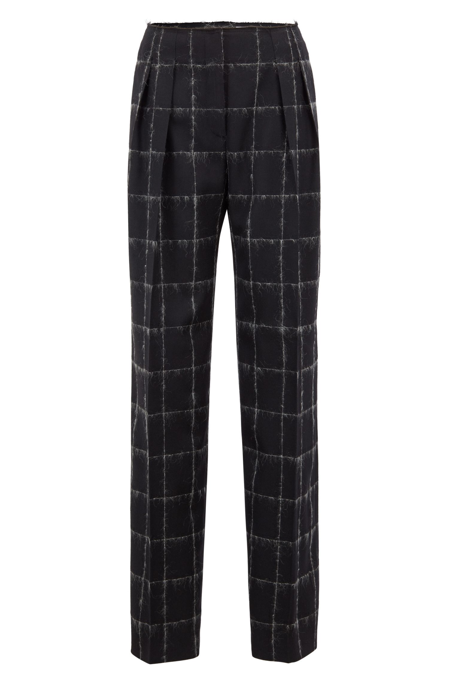 Pantalon large de la collection Gallery, en laine mélangée à carreaux, Fantaisie