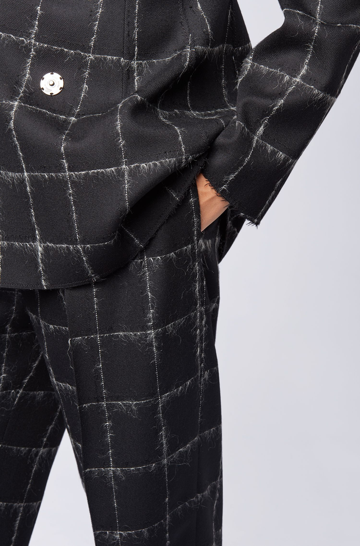 Gallery Collection wide-leg trousers in a checked wool blend, Patterned
