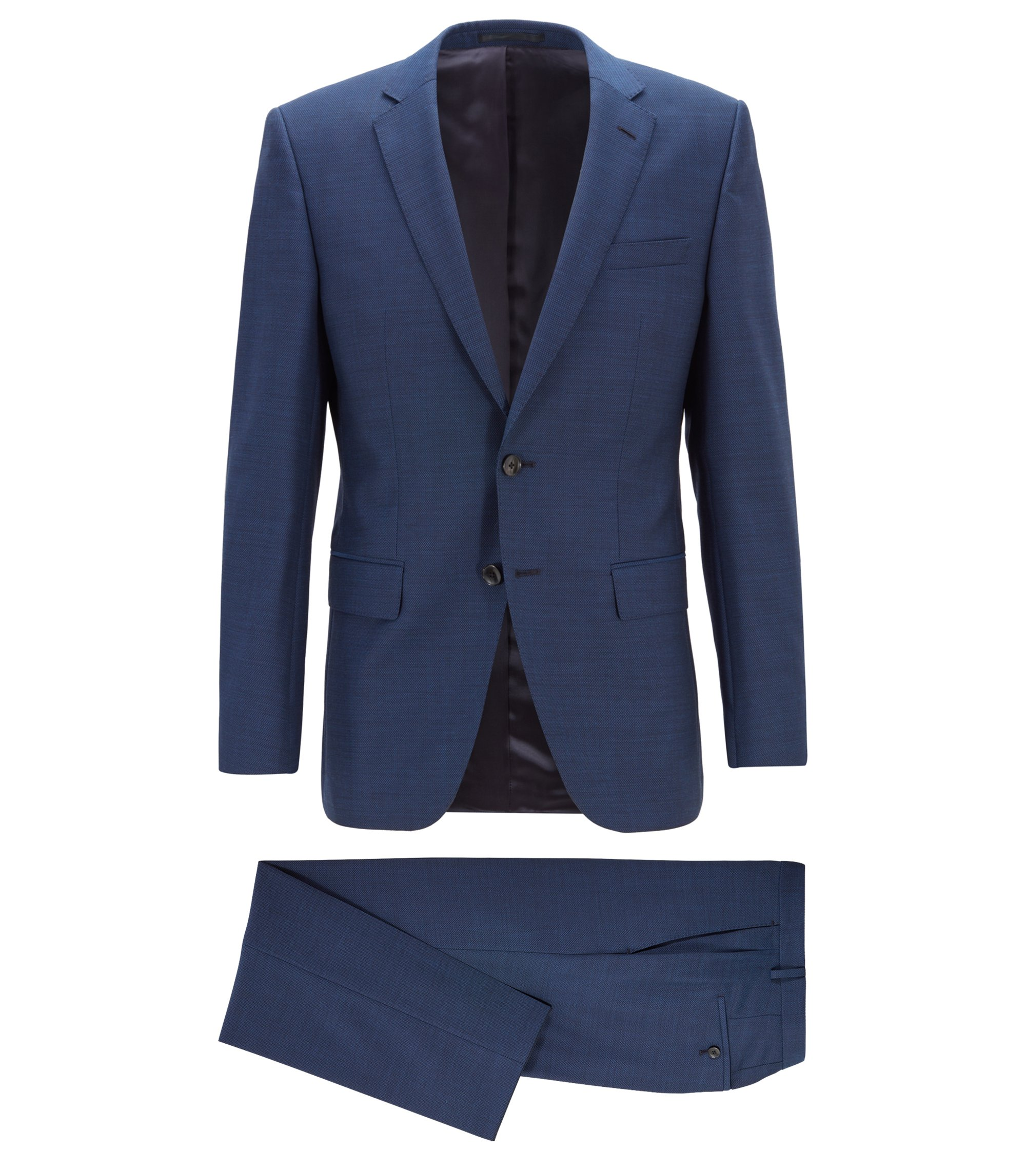 Slim-fit suit in virgin wool serge, Open Blue