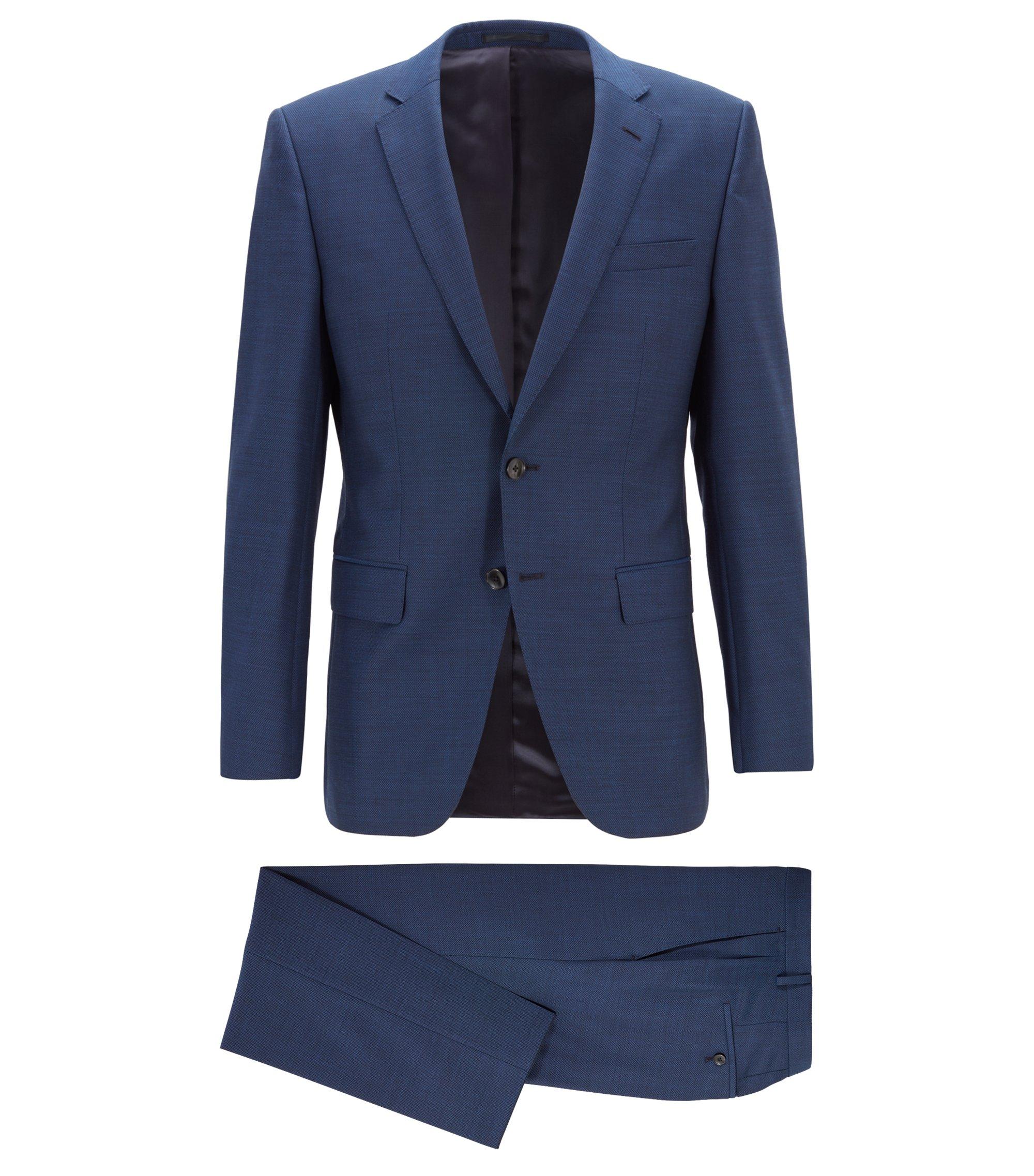 Slim-fit kostuum in een serge van scheerwol, Lichtblauw