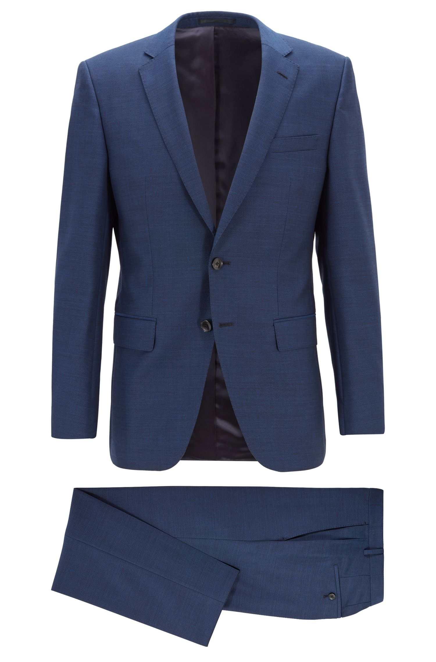 Slim-Fit Anzug aus Schurwoll-Serge, Blau