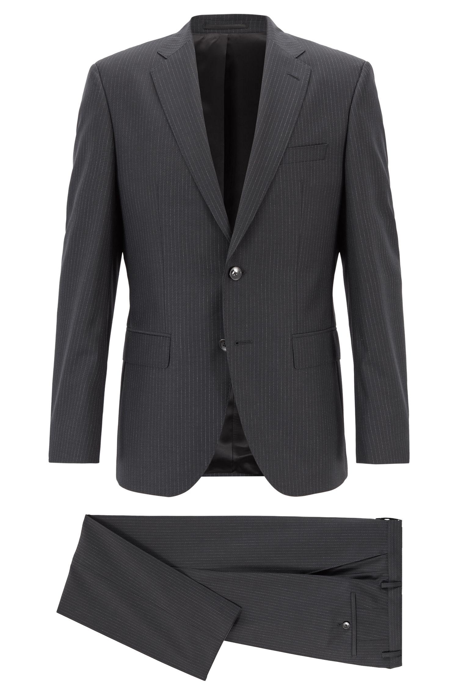 Regular-Fit Anzug aus Schurwolle mit Längsstreifen, Schwarz
