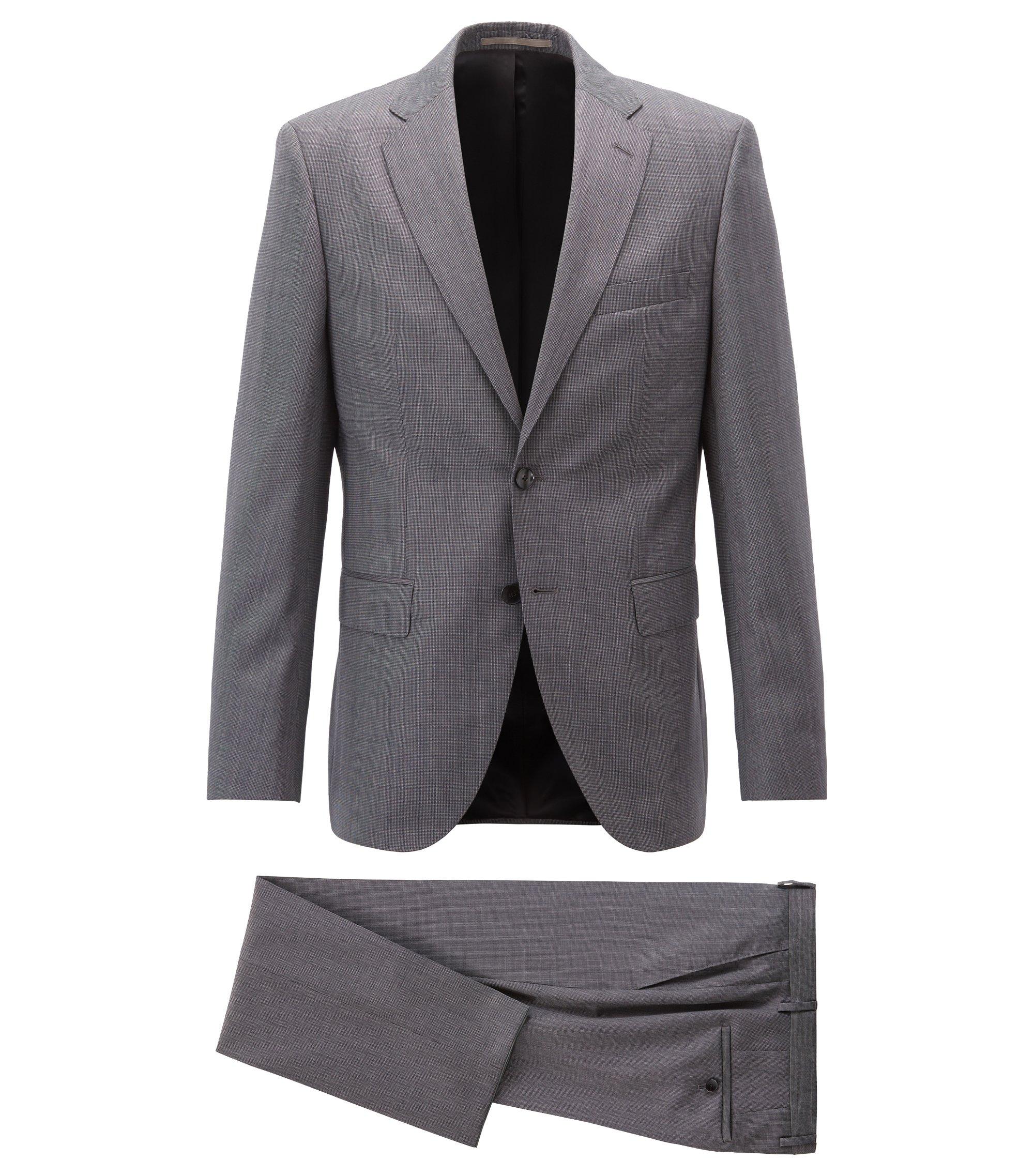 Regular-fit suit in micro-patterned virgin wool serge, Grey