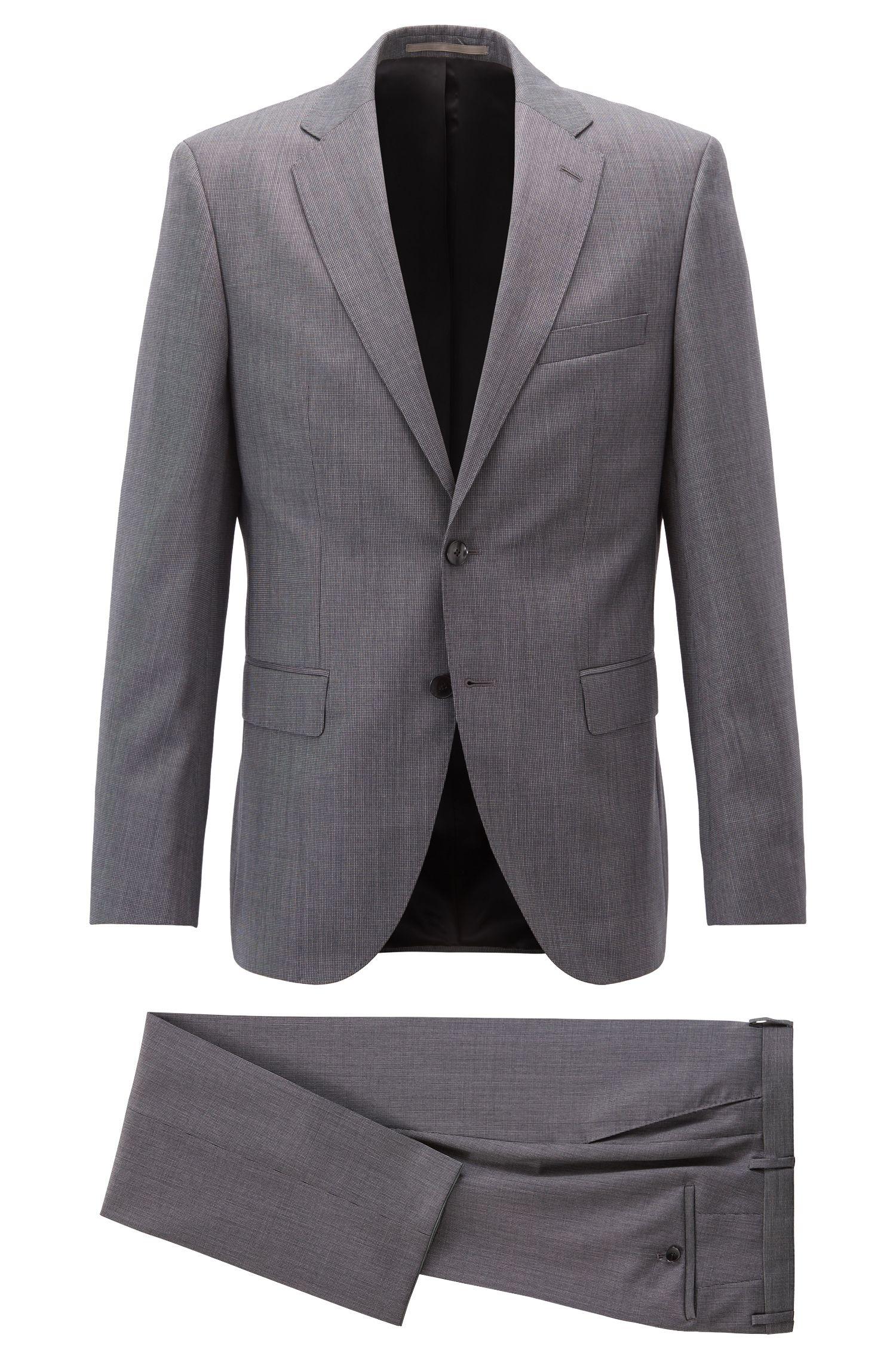 Fein gemusterter Regular-Fit Anzug aus Schurwoll-Serge, Grau