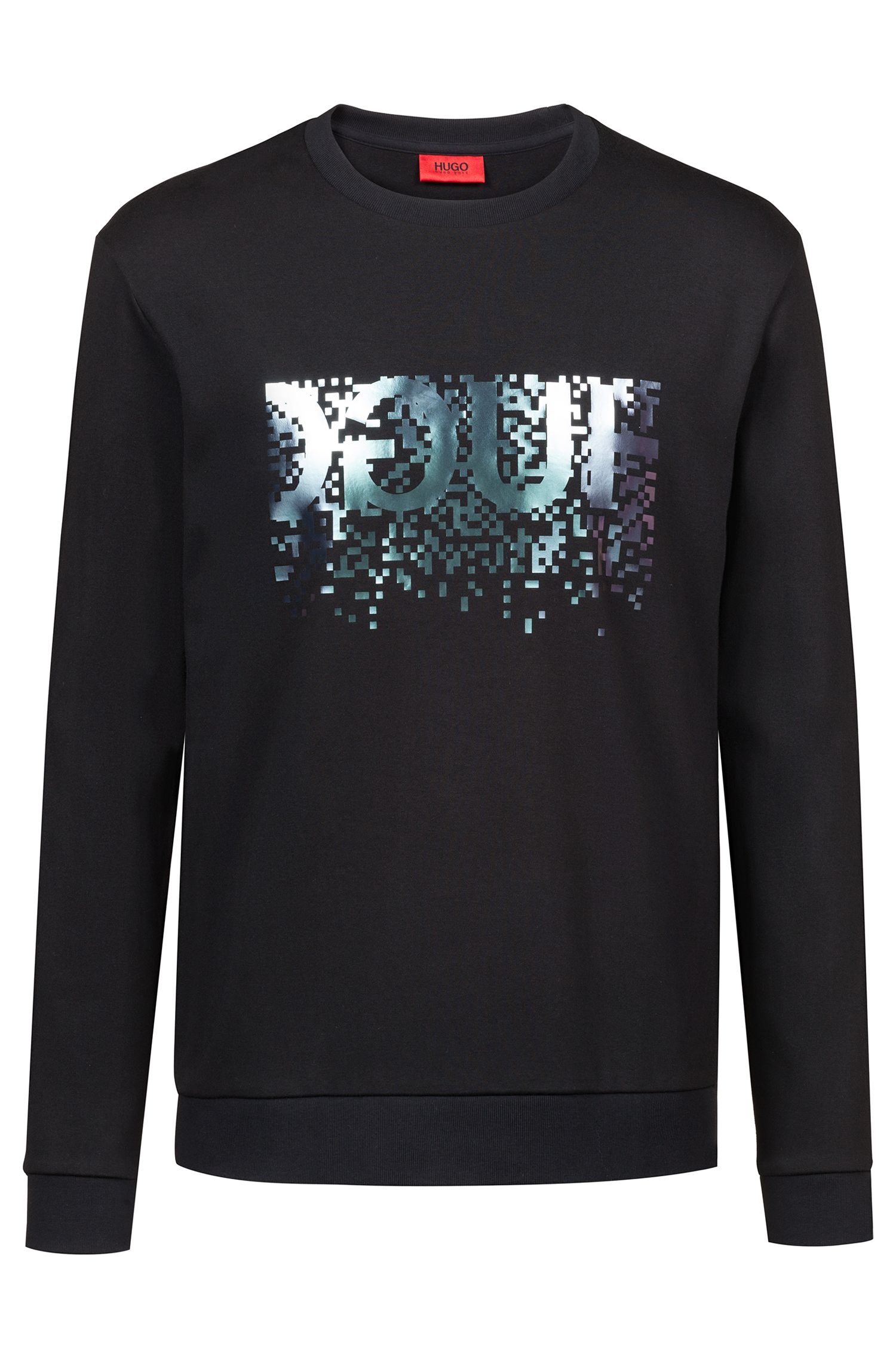 Crew-neck sweatshirt with foil-print reverse logo, Black
