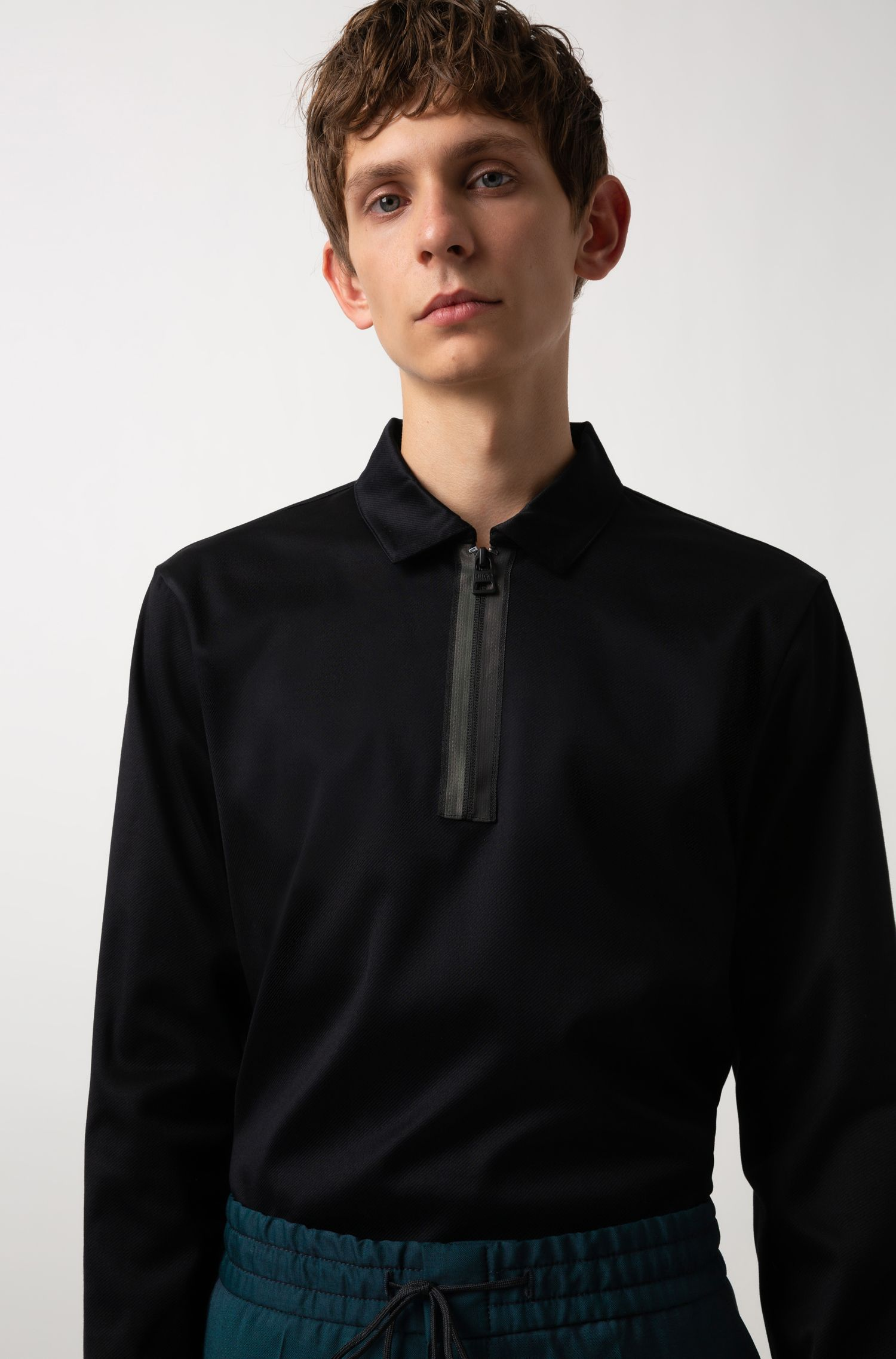 Long-sleeved polo shirt in mercerised interlock cotton, Black