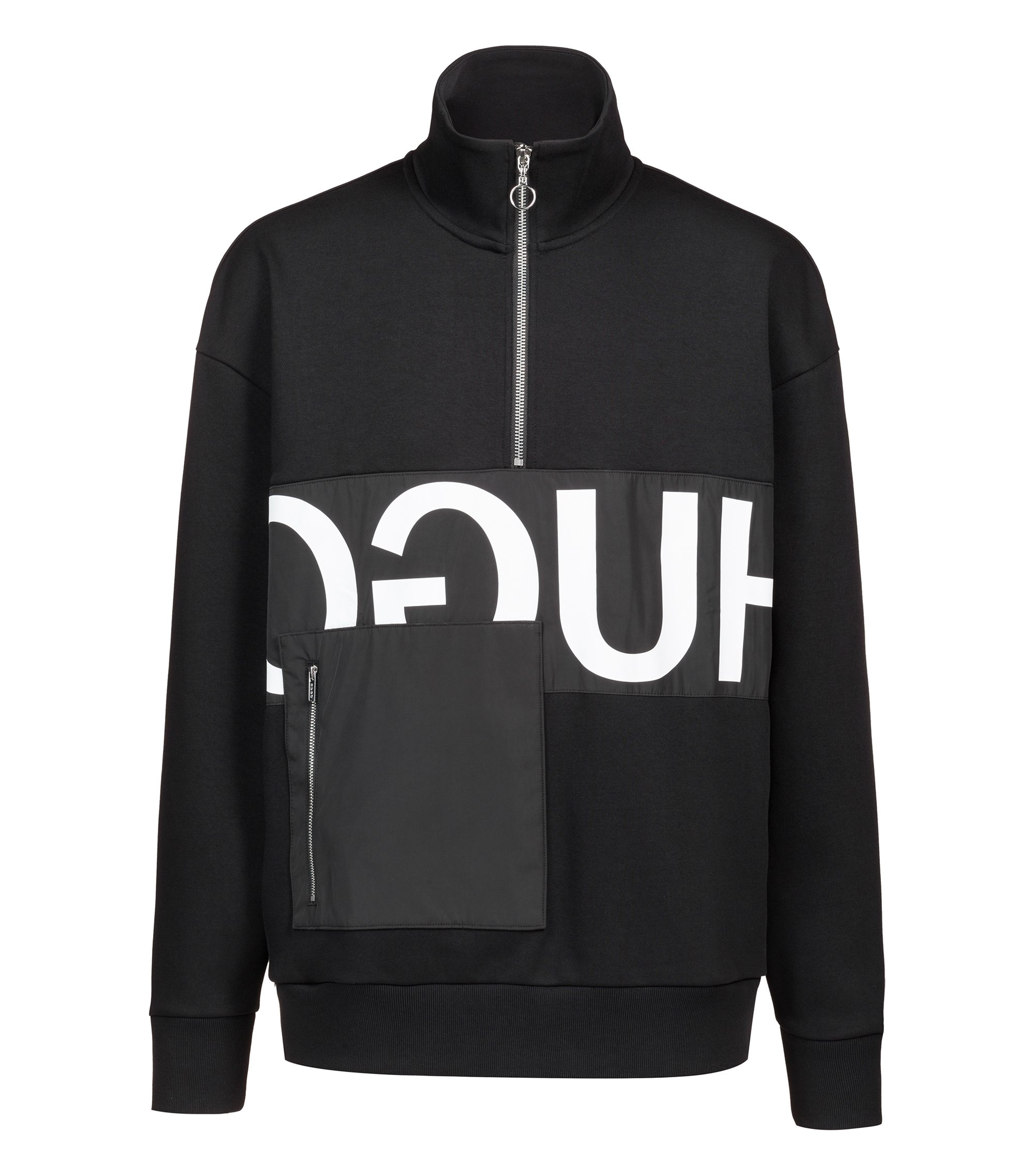 Oversized-fit sweatshirt with reverse logo and patch pocket, Black