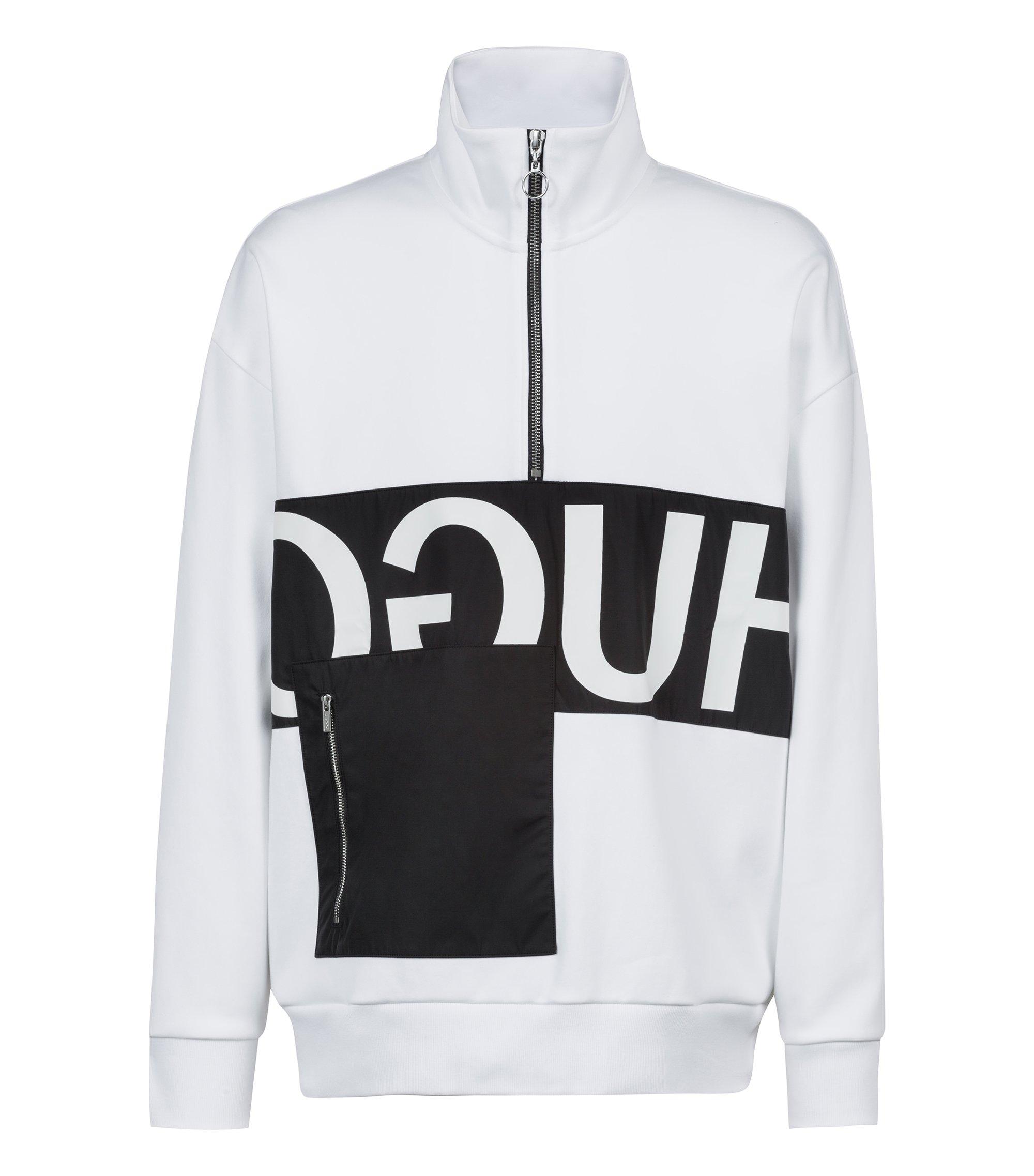 Sweat Oversized Fit avec logo inversé et poche plaquée, Blanc
