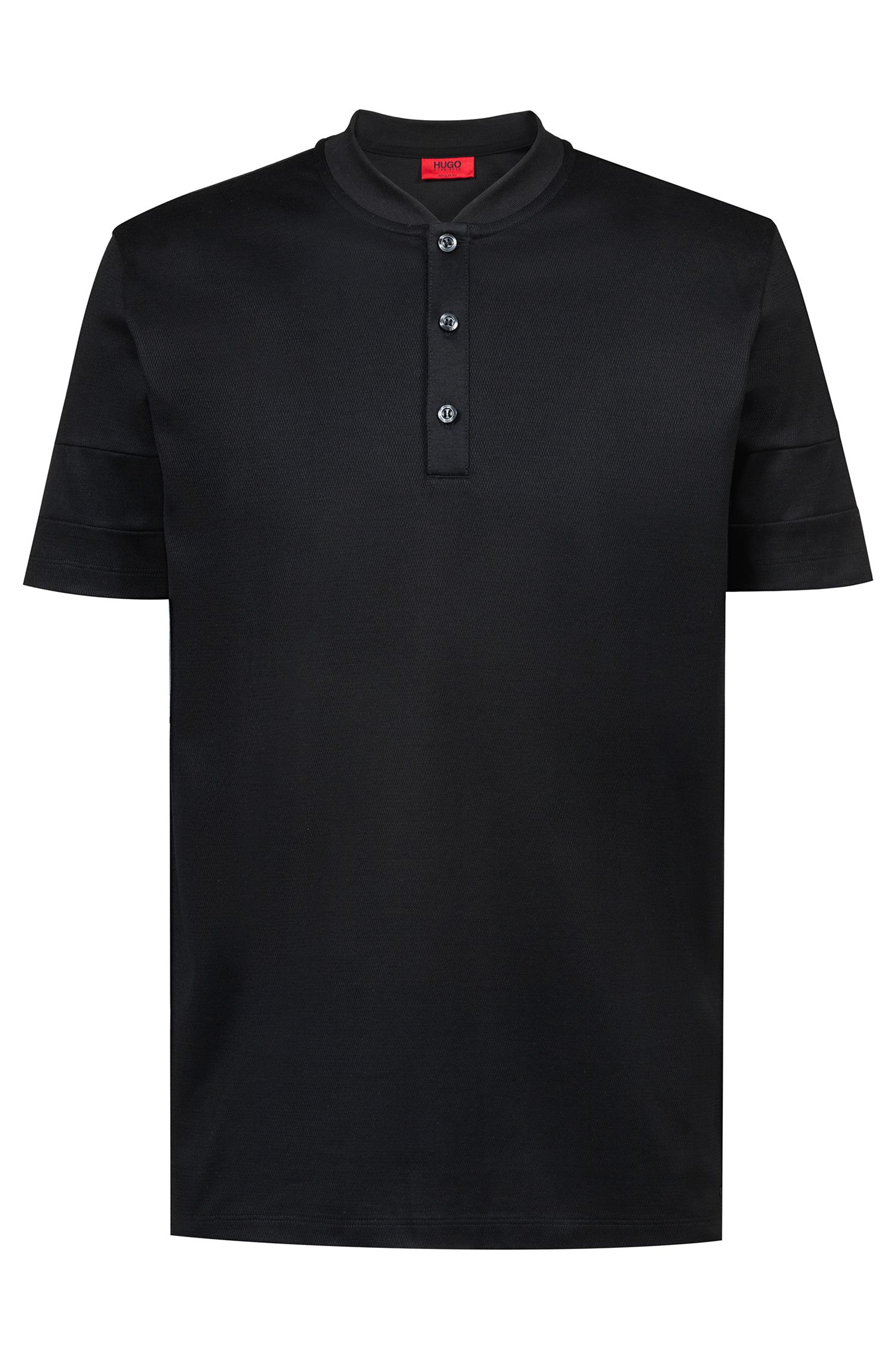 Regular-fit polo shirt in cotton with college collar, Black