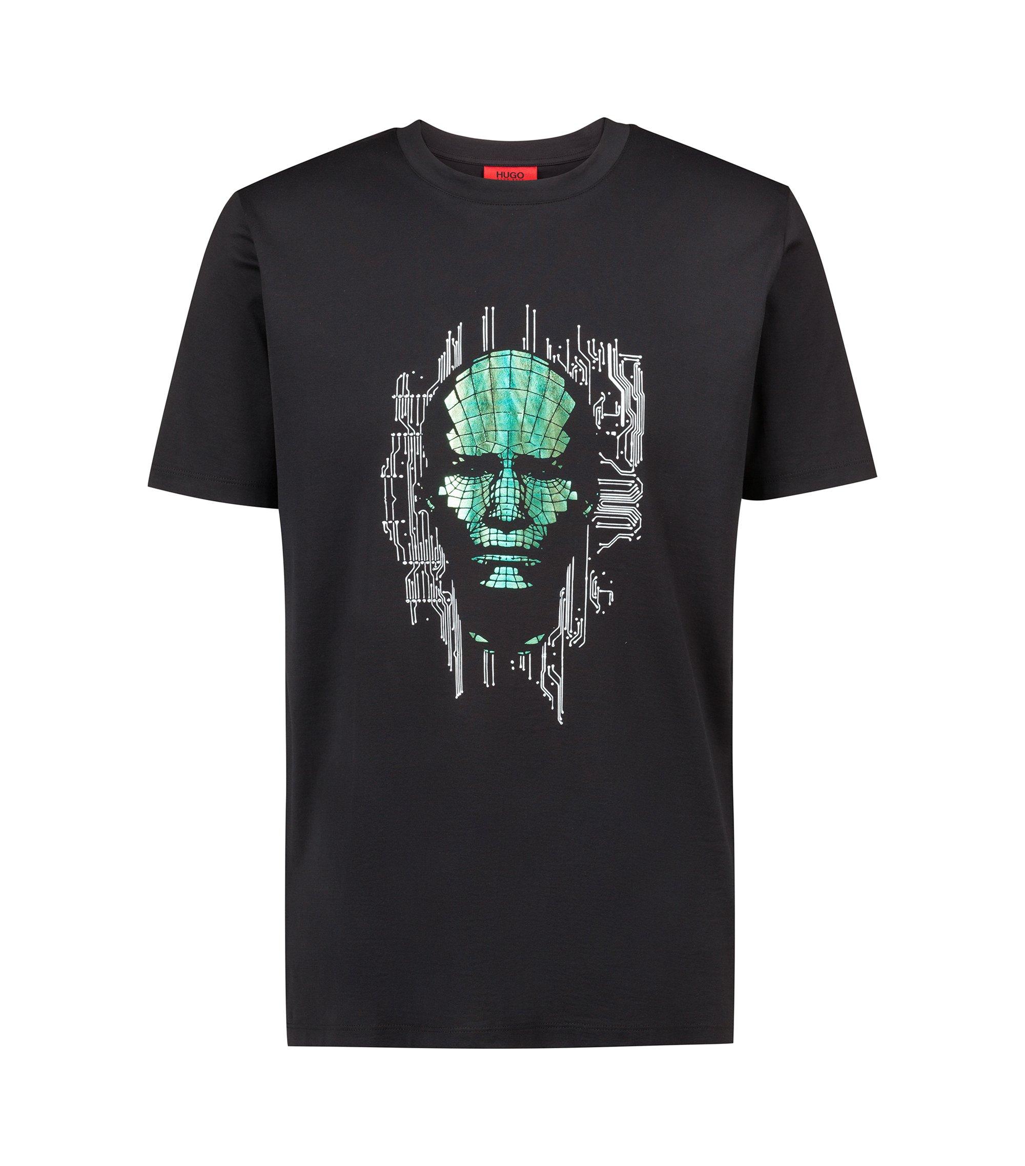 T-shirt Regular Fit en coton à imprimé transfert placé avec précision, Noir