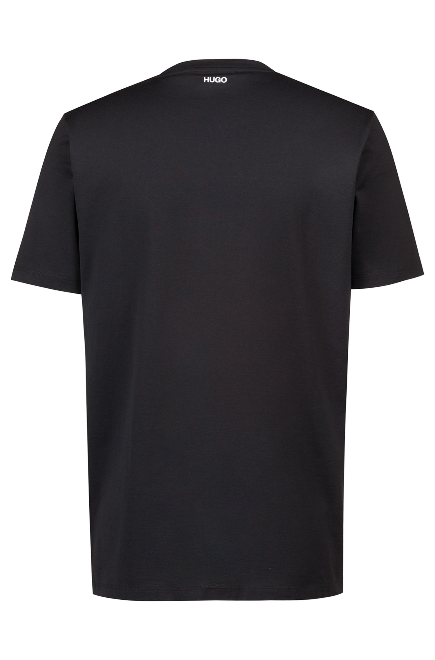 Regular-fit T-shirt in cotton with placement foil print, Black