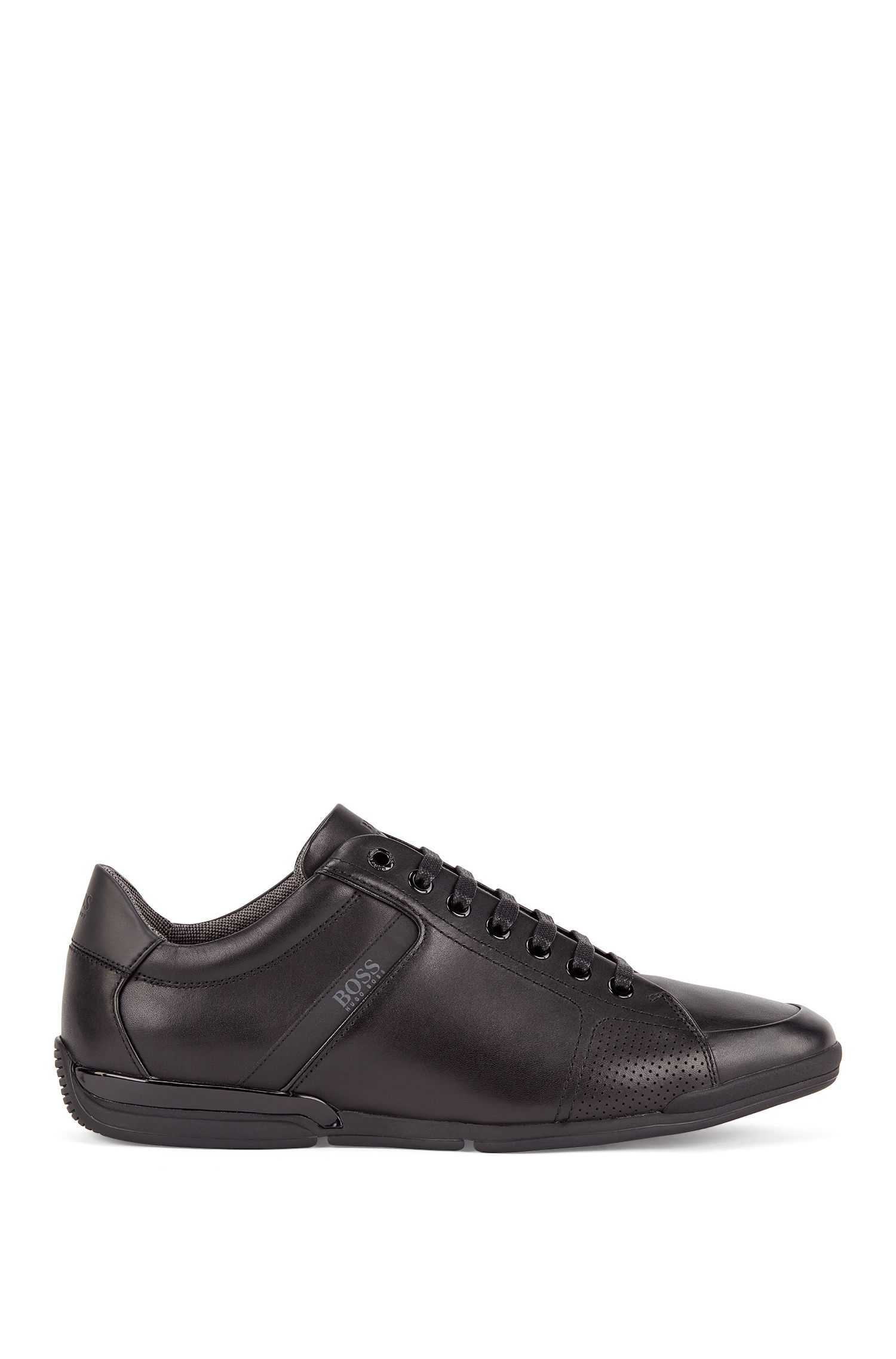 Low-top trainers in leather with thermo-bonded details, Black