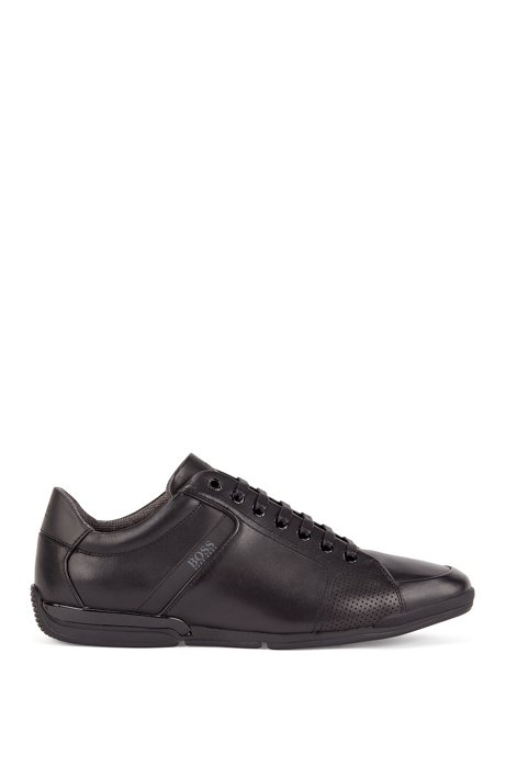 Low-profile trainers with smooth leather uppers, Black