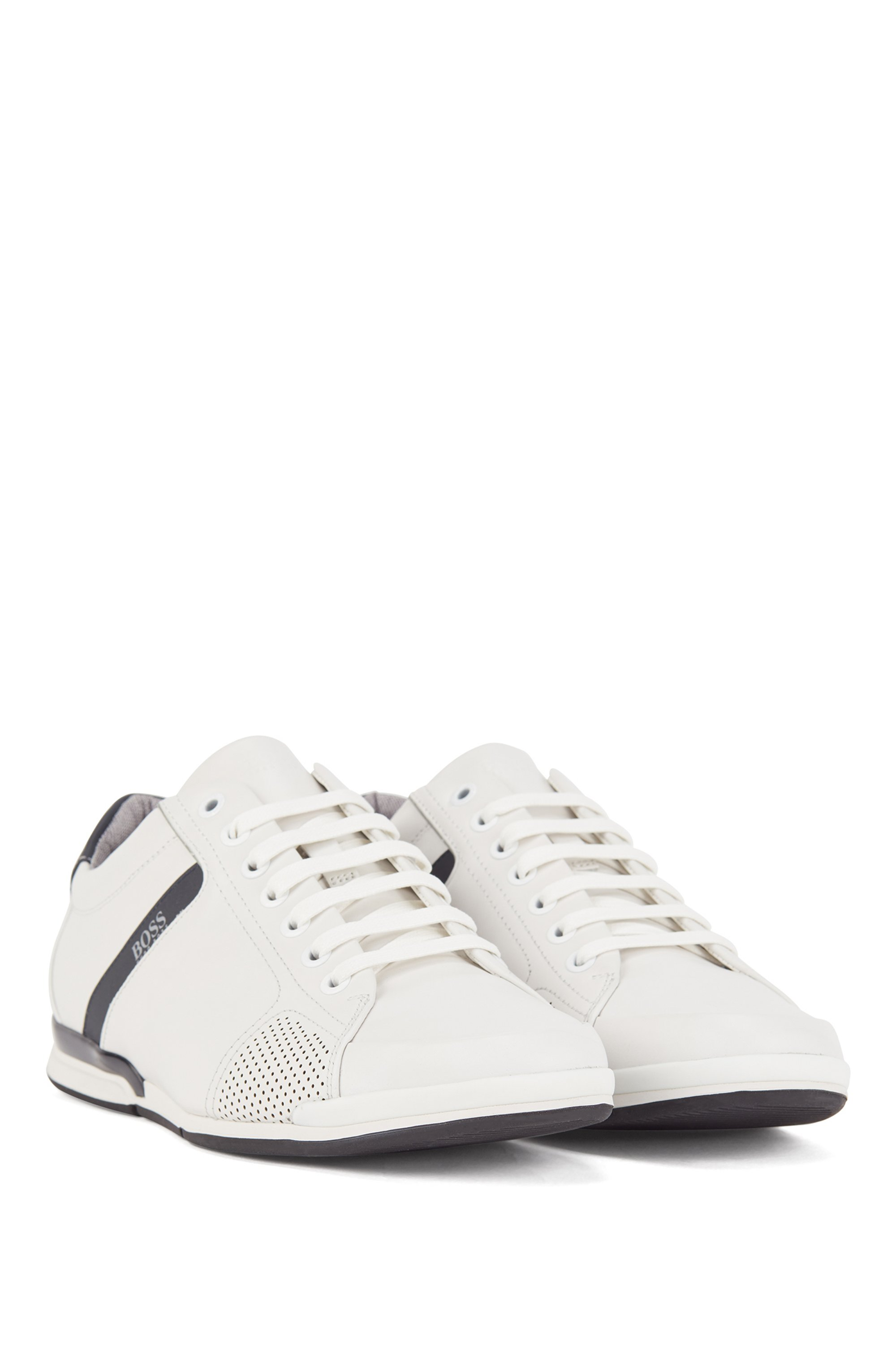 Smooth-leather trainers with bamboo-charcoal lining