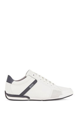 Smooth-leather trainers with bamboo-charcoal lining, White