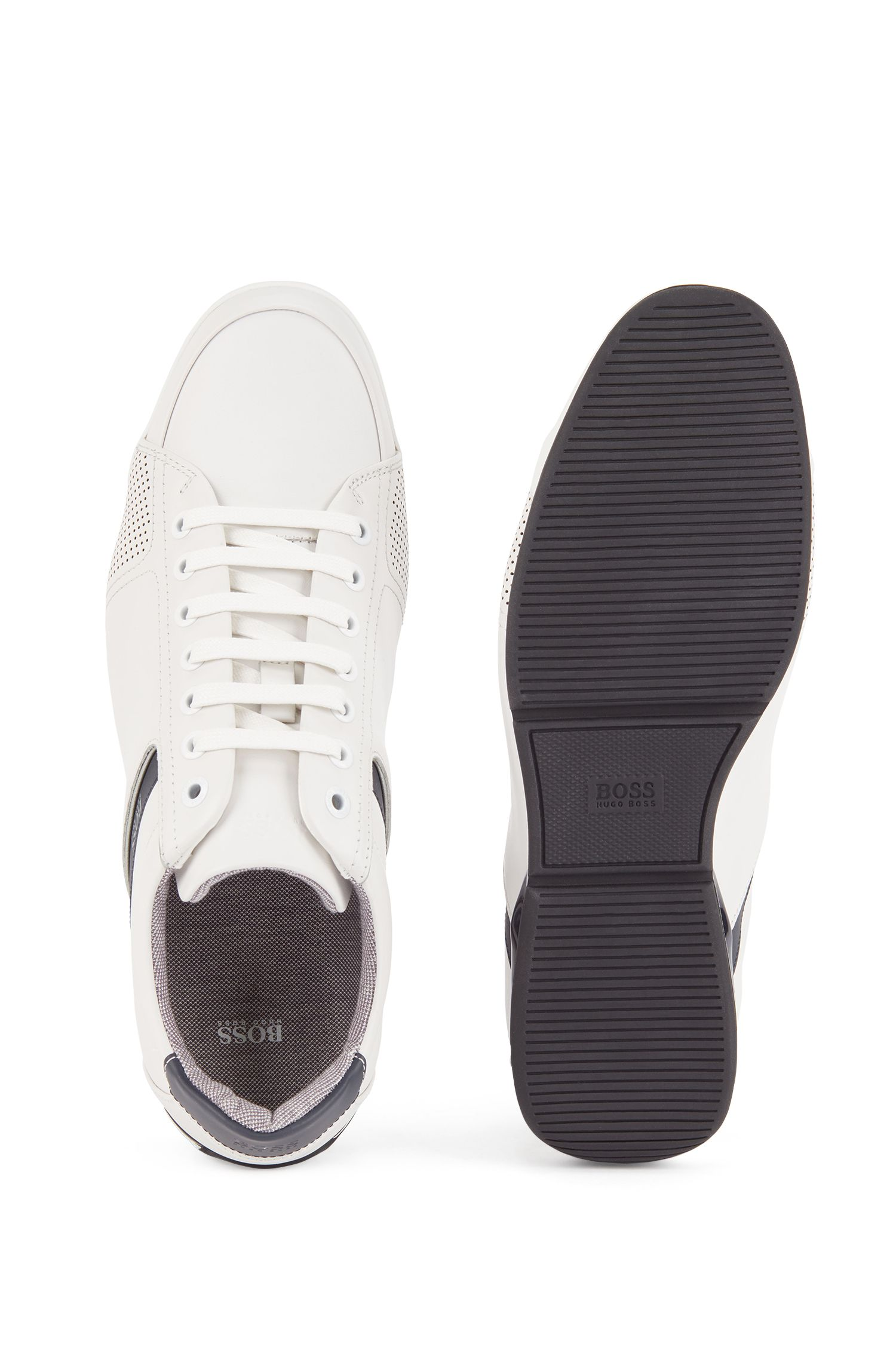 Low-top trainers in leather with thermo-bonded details, White