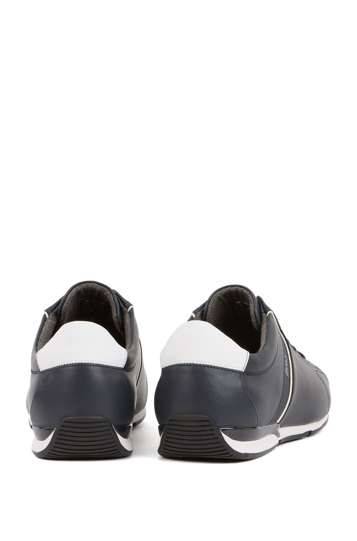 Low-top trainers in leather with thermo-bonded details, Dark Blue