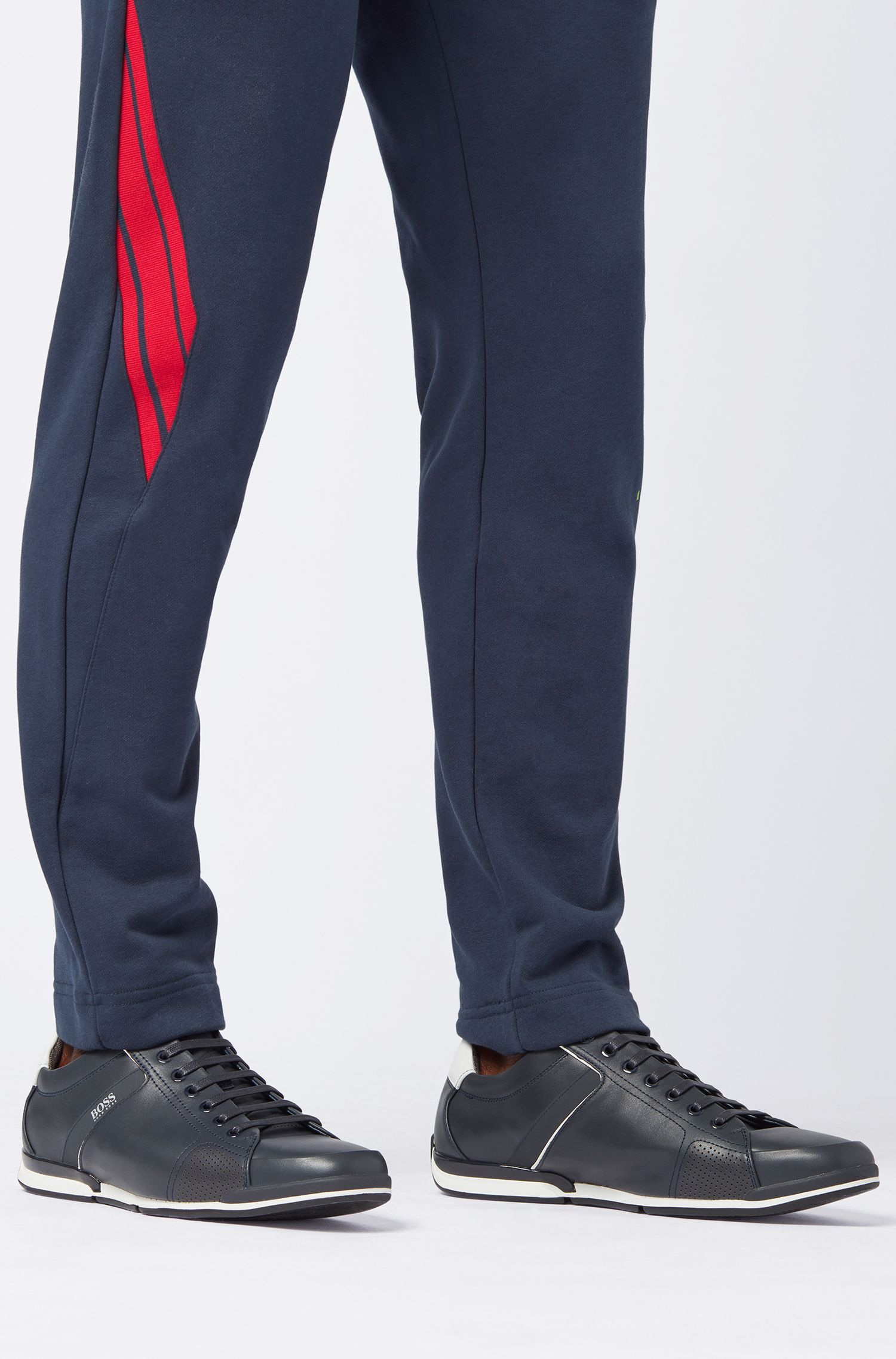 Lowtop Sneakers aus Leder mit thermofixierten Details, Dunkelblau