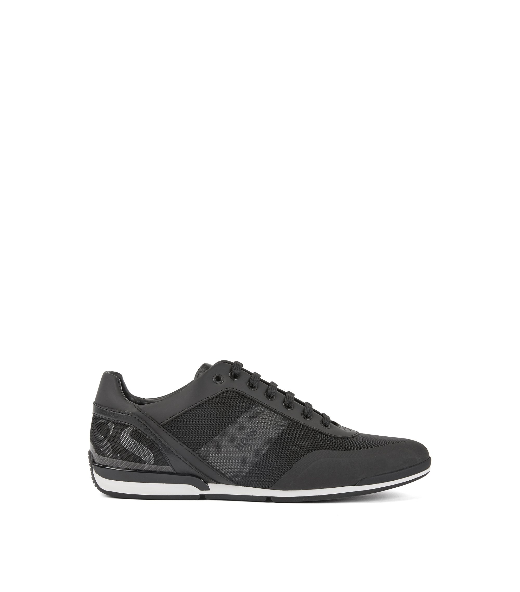 Low-top trainers in printed technical fabric with mesh, Black