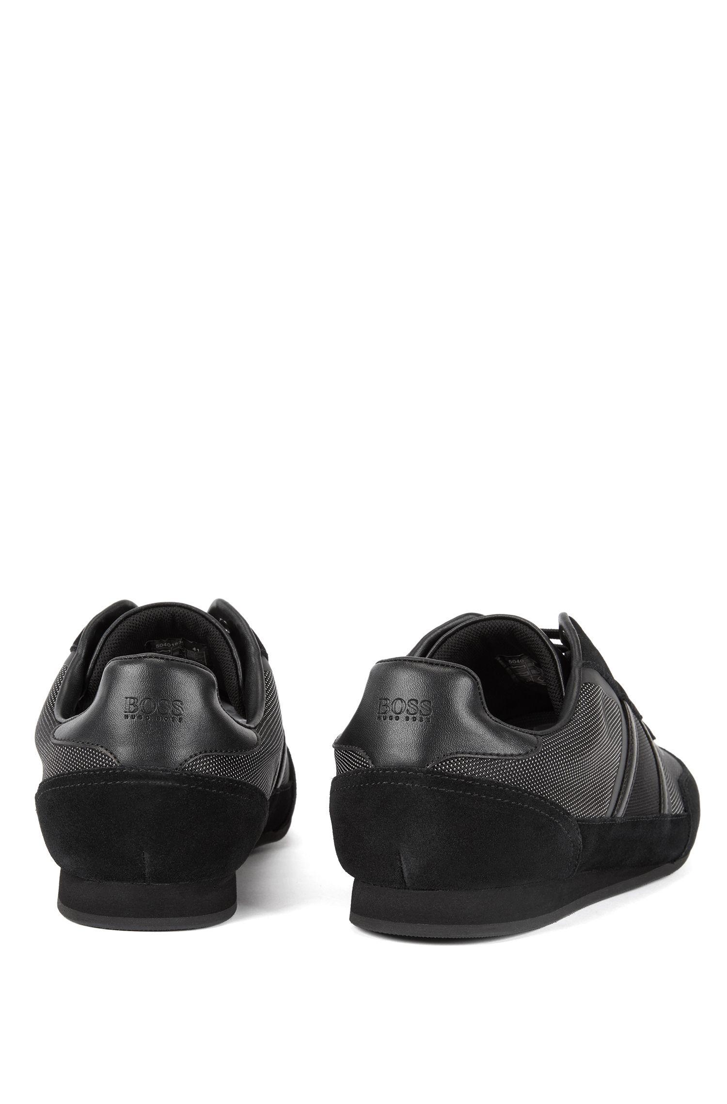 Lage sneakers van suède en technisch materiaal, Zwart
