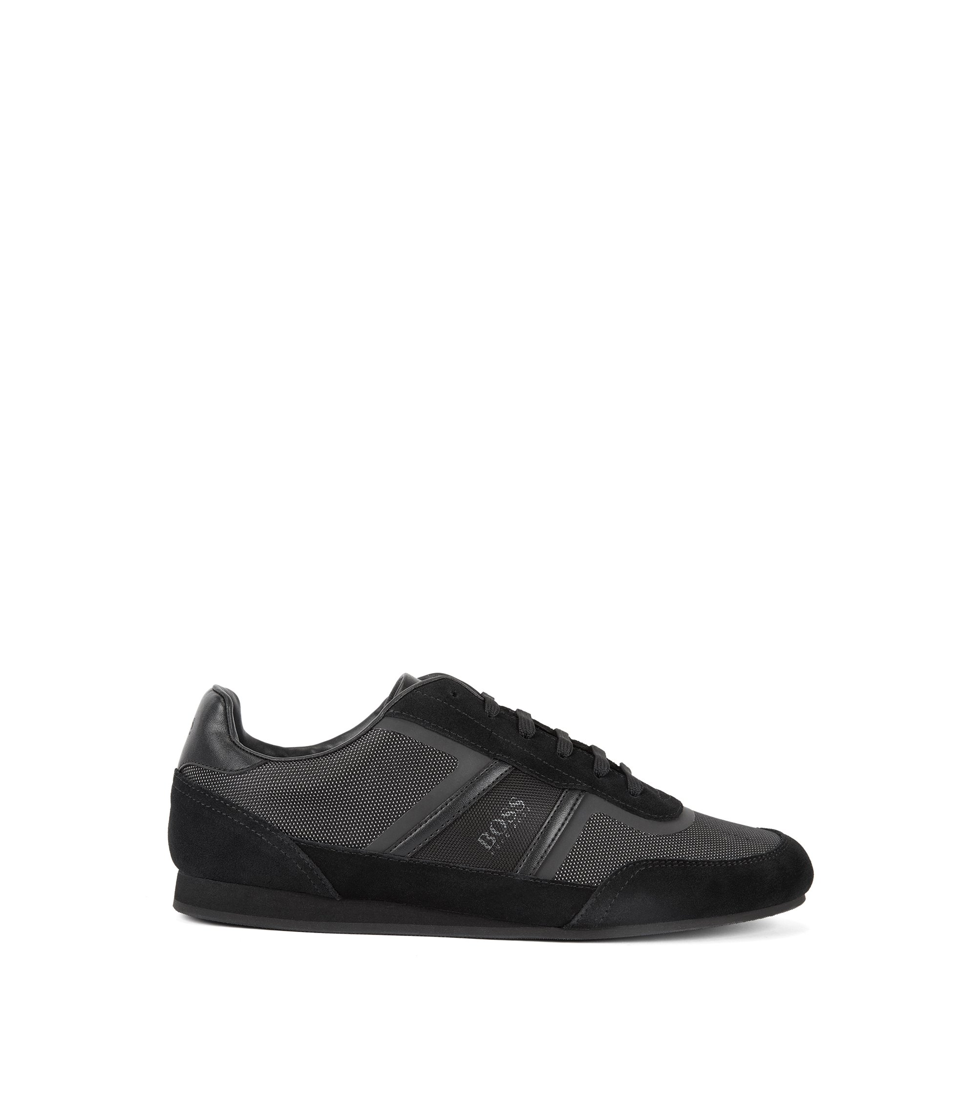 Low-top trainers in suede and technical fabric, Black