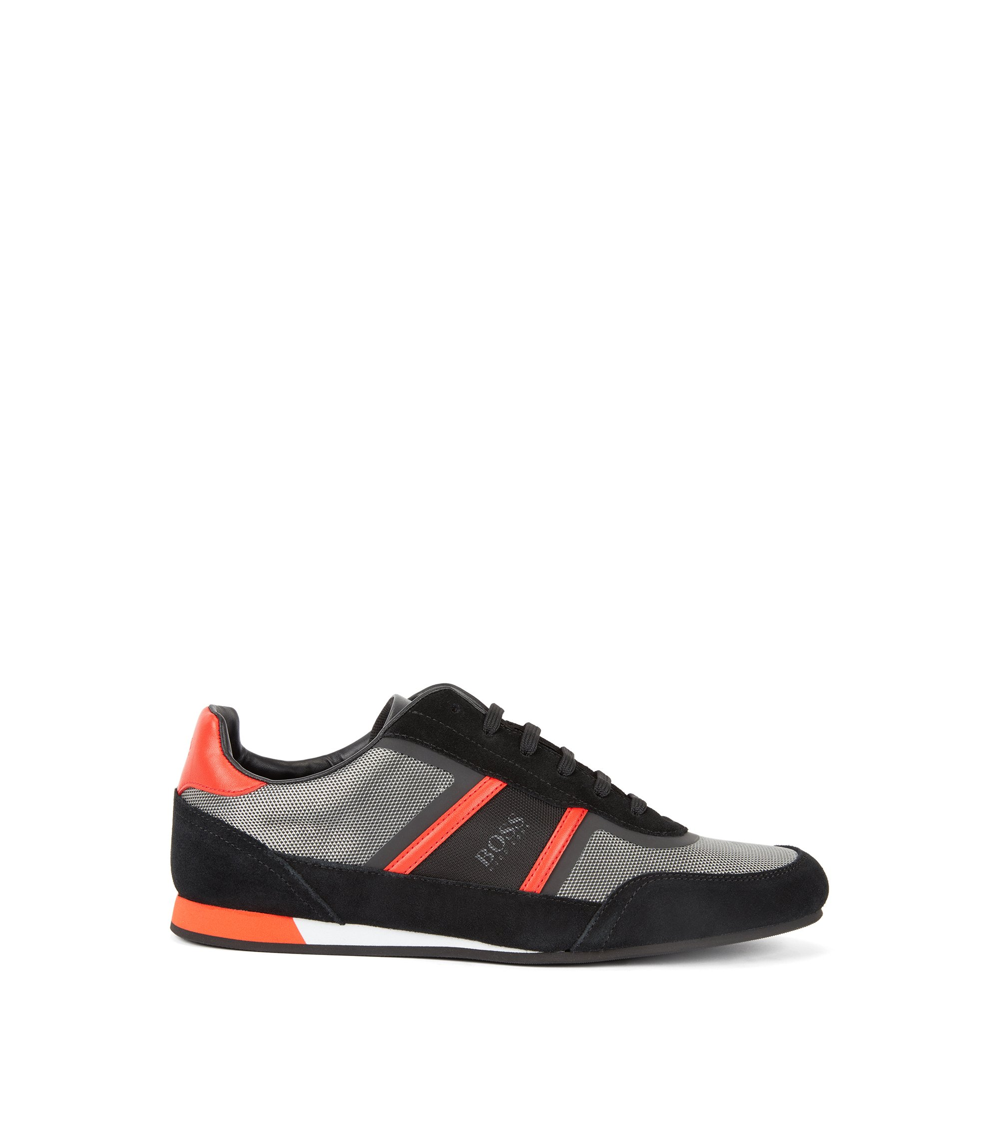 Low-top trainers in suede and technical fabric, Dark Grey