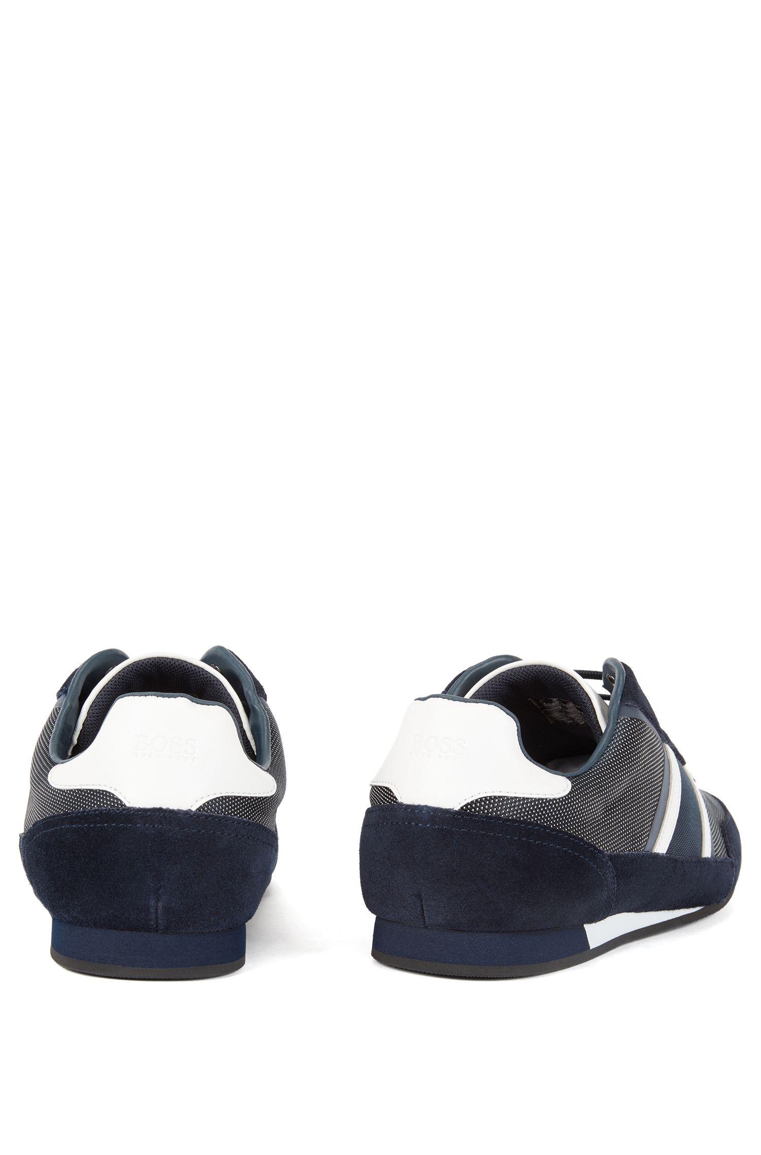 Baskets basses en daim et tissu technique, Bleu foncé