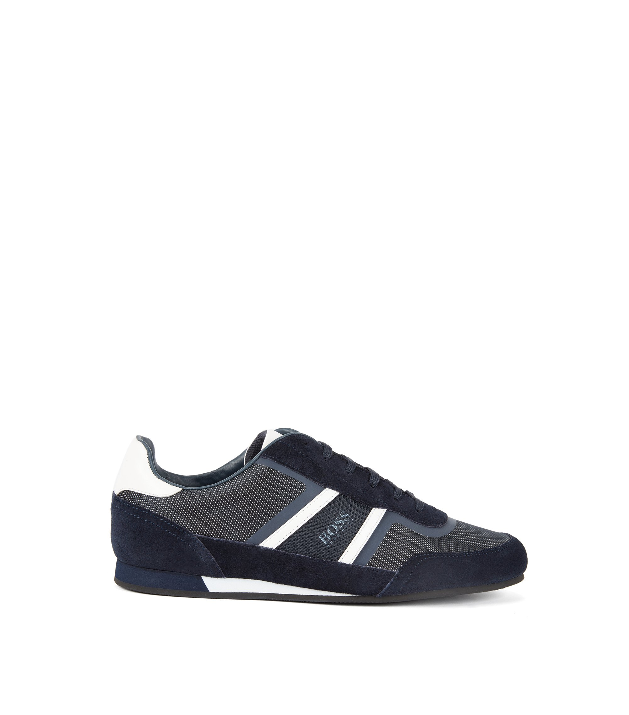 Low-top trainers in suede and technical fabric, Dark Blue