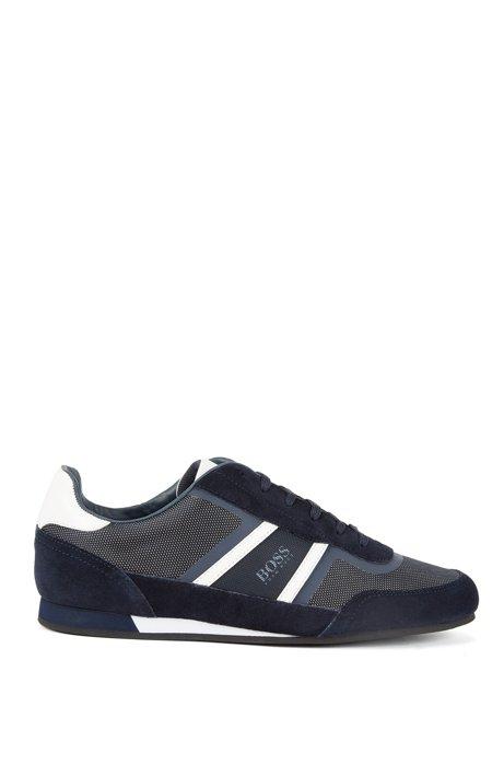 Sneakers low-top in pelle scamosciata e tessuto tecnico, Blu scuro