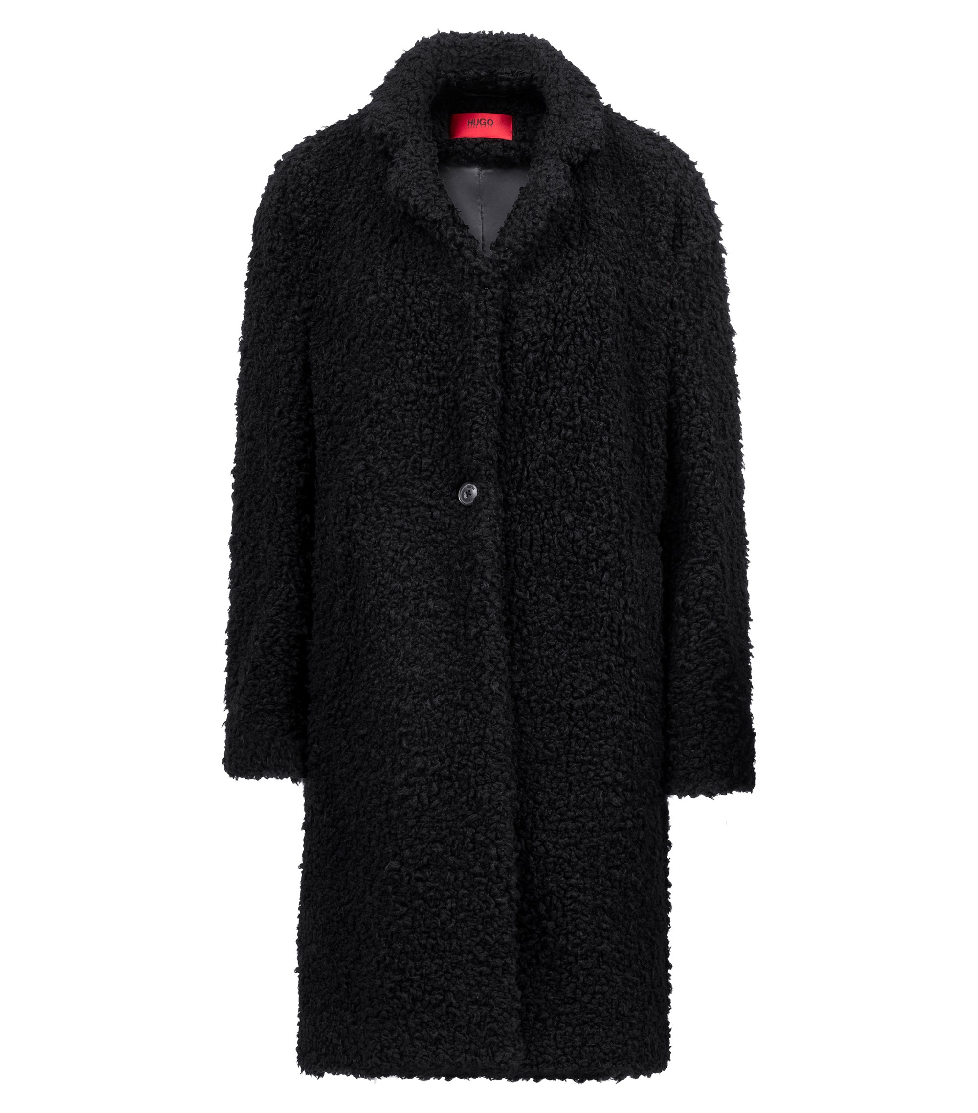 Egg-shaped coat in teddy fabric, Black