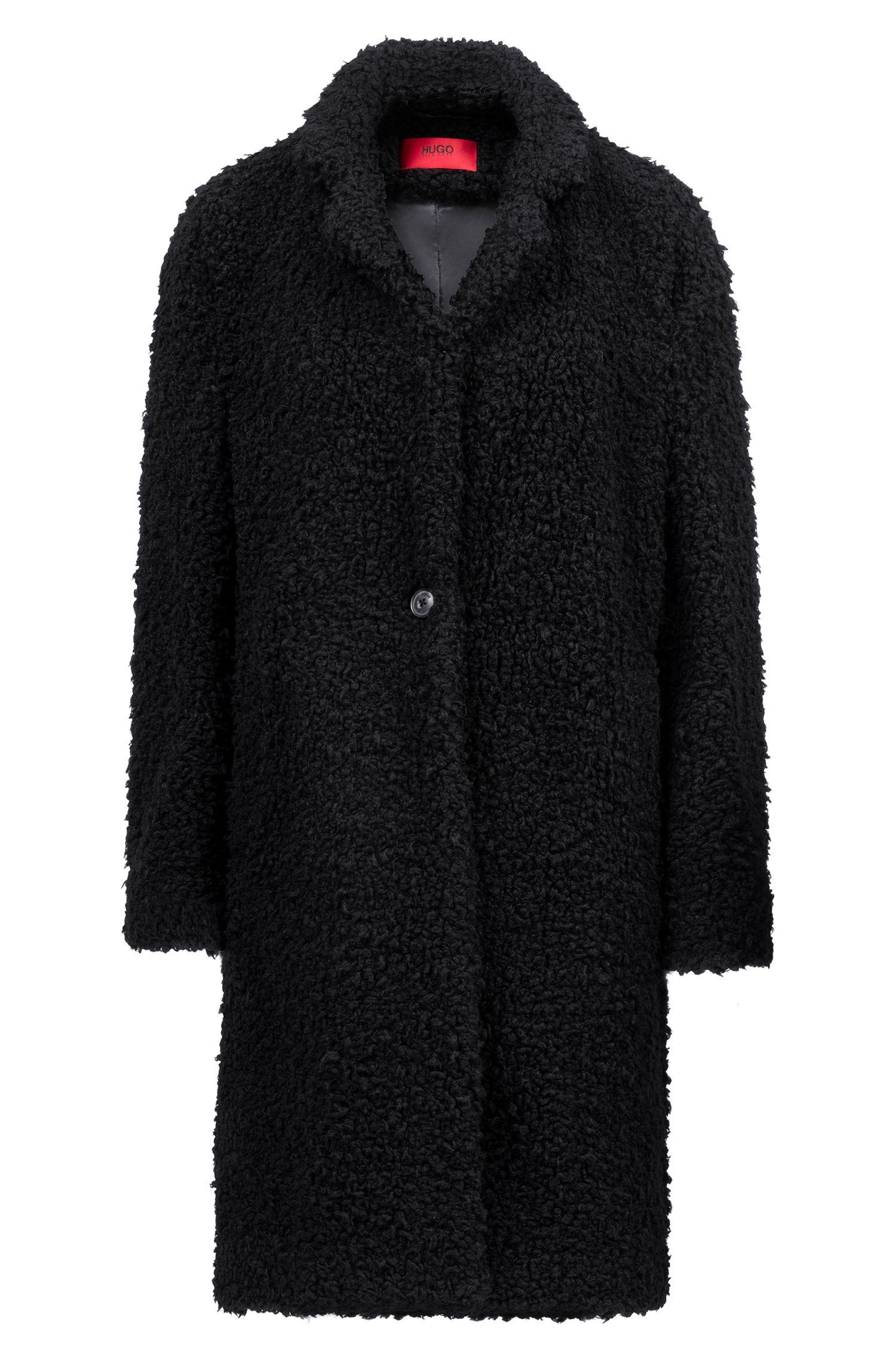 Manteau œuf en molleton, Noir
