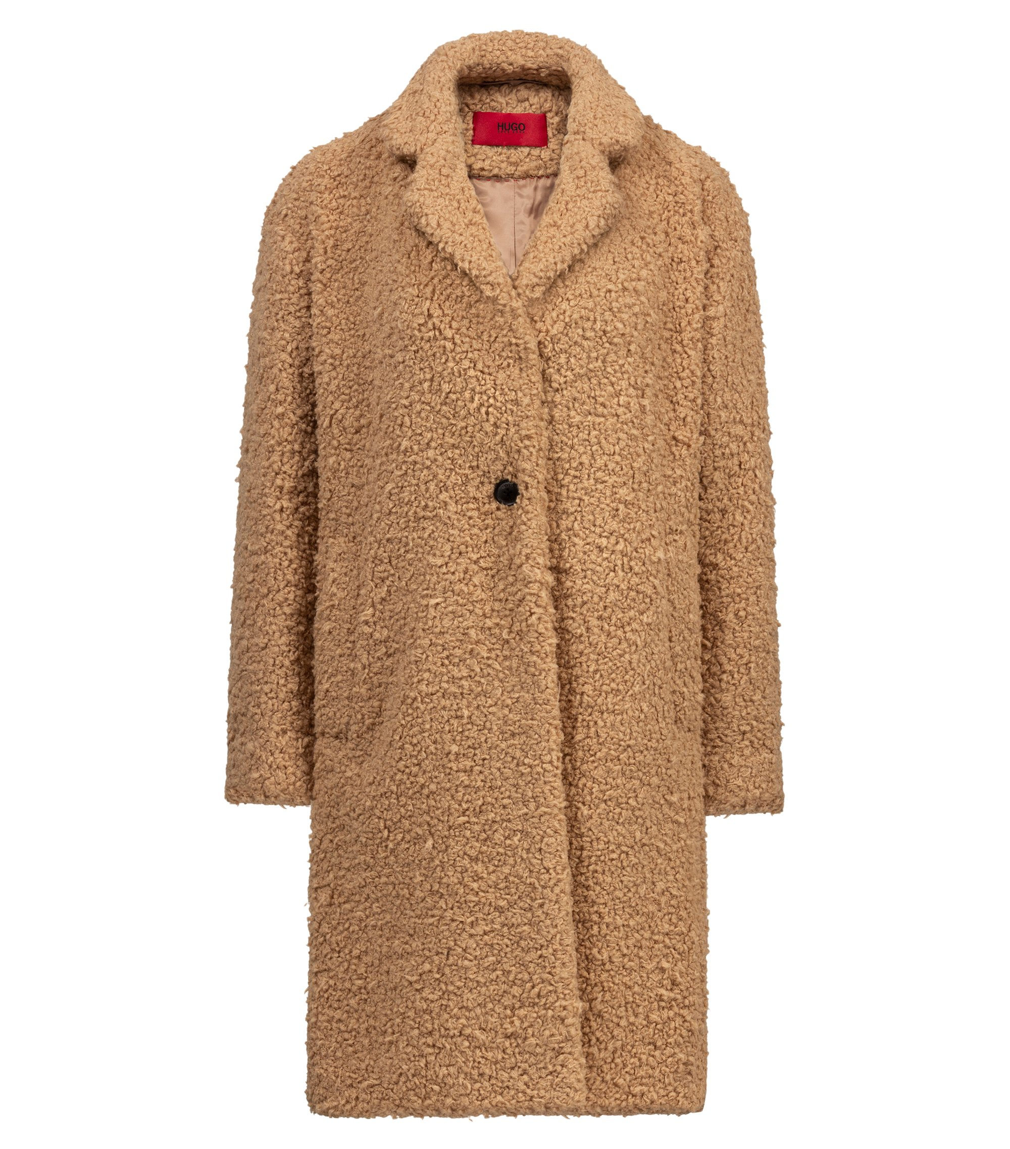 Egg-shaped coat in teddy fabric, Light Brown