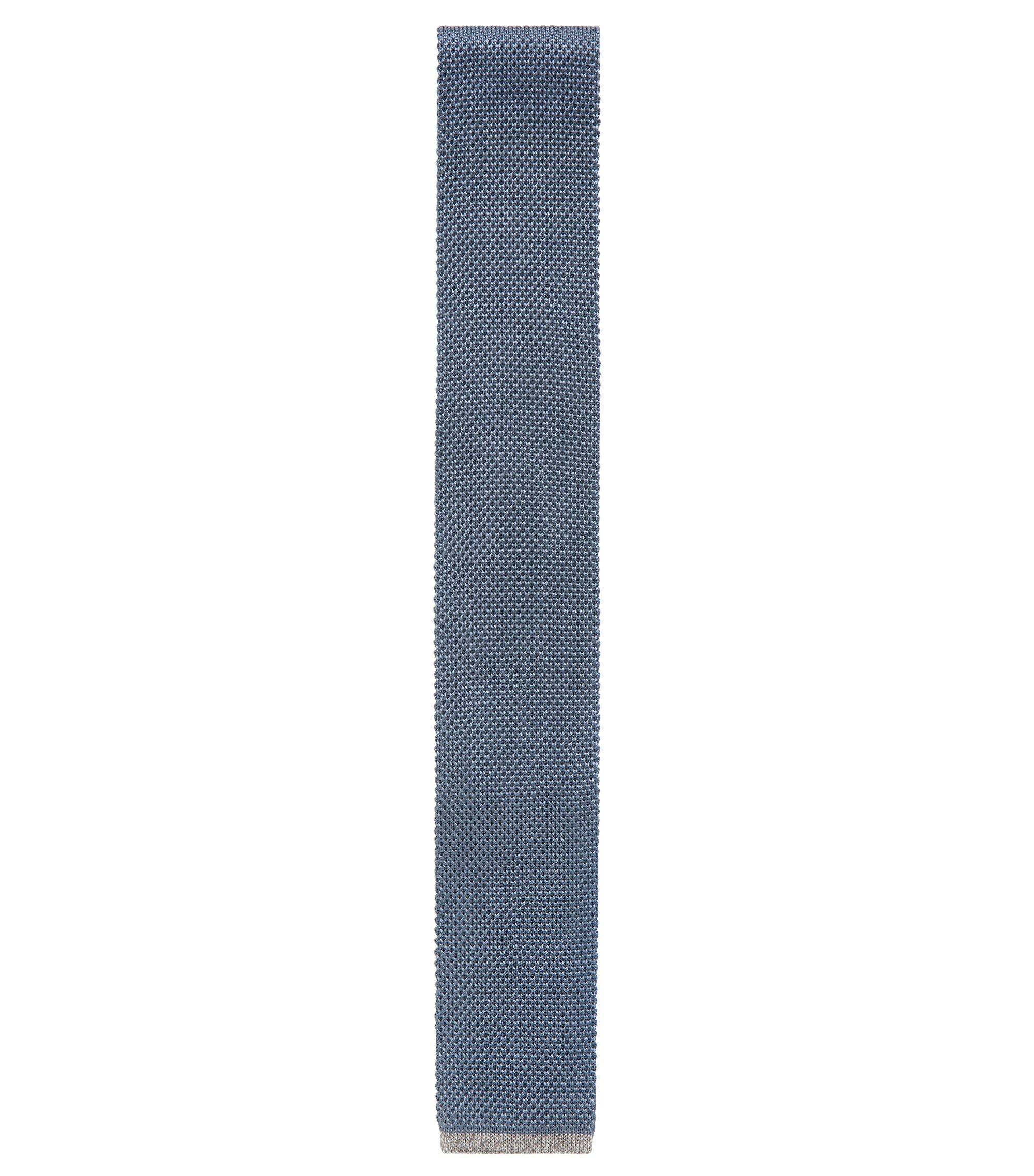 Rechte stropdas in een gebreide piqué van zijde, Blauw