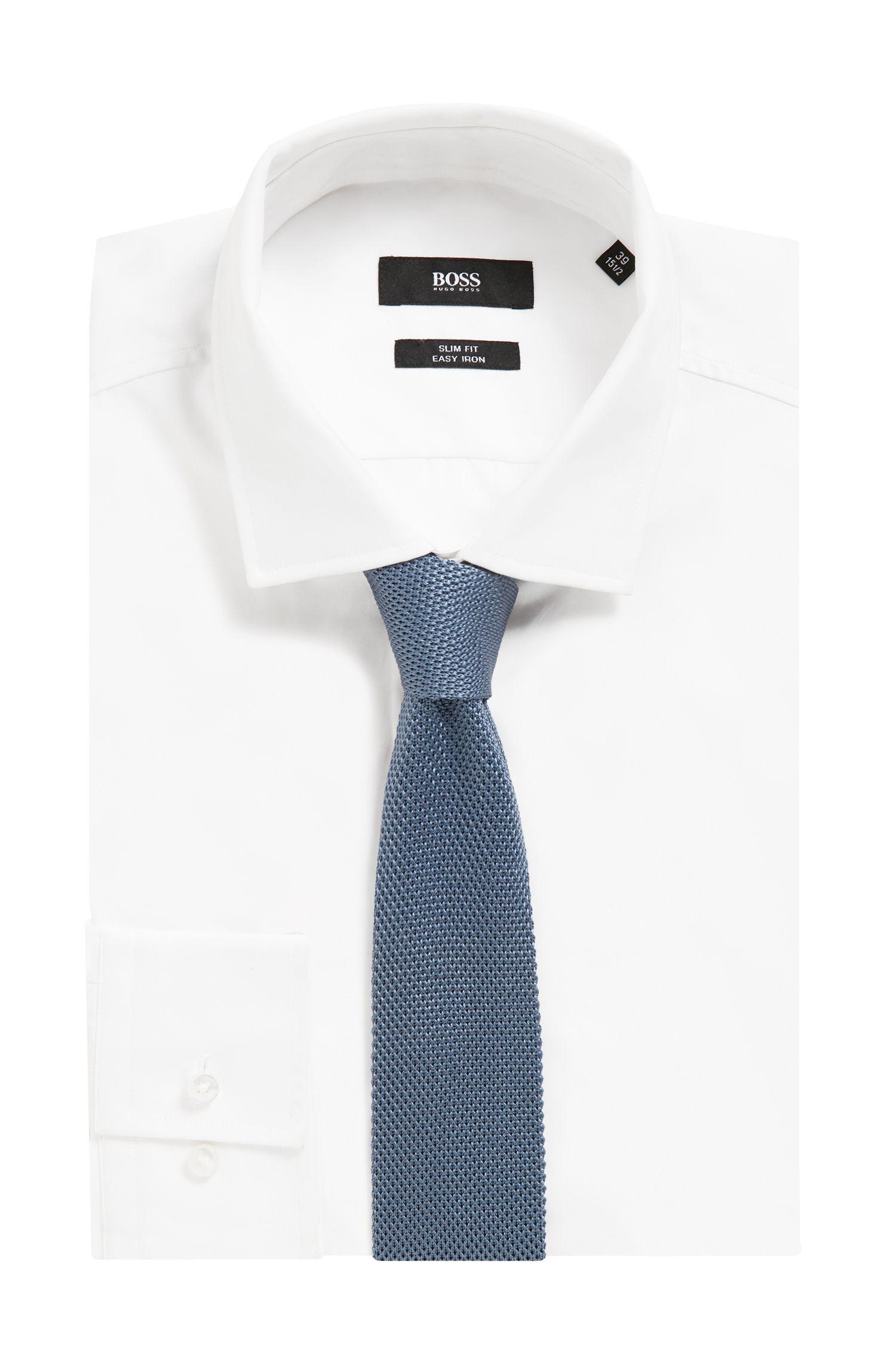 Corbata recta en piqué de seda de punto, Azul