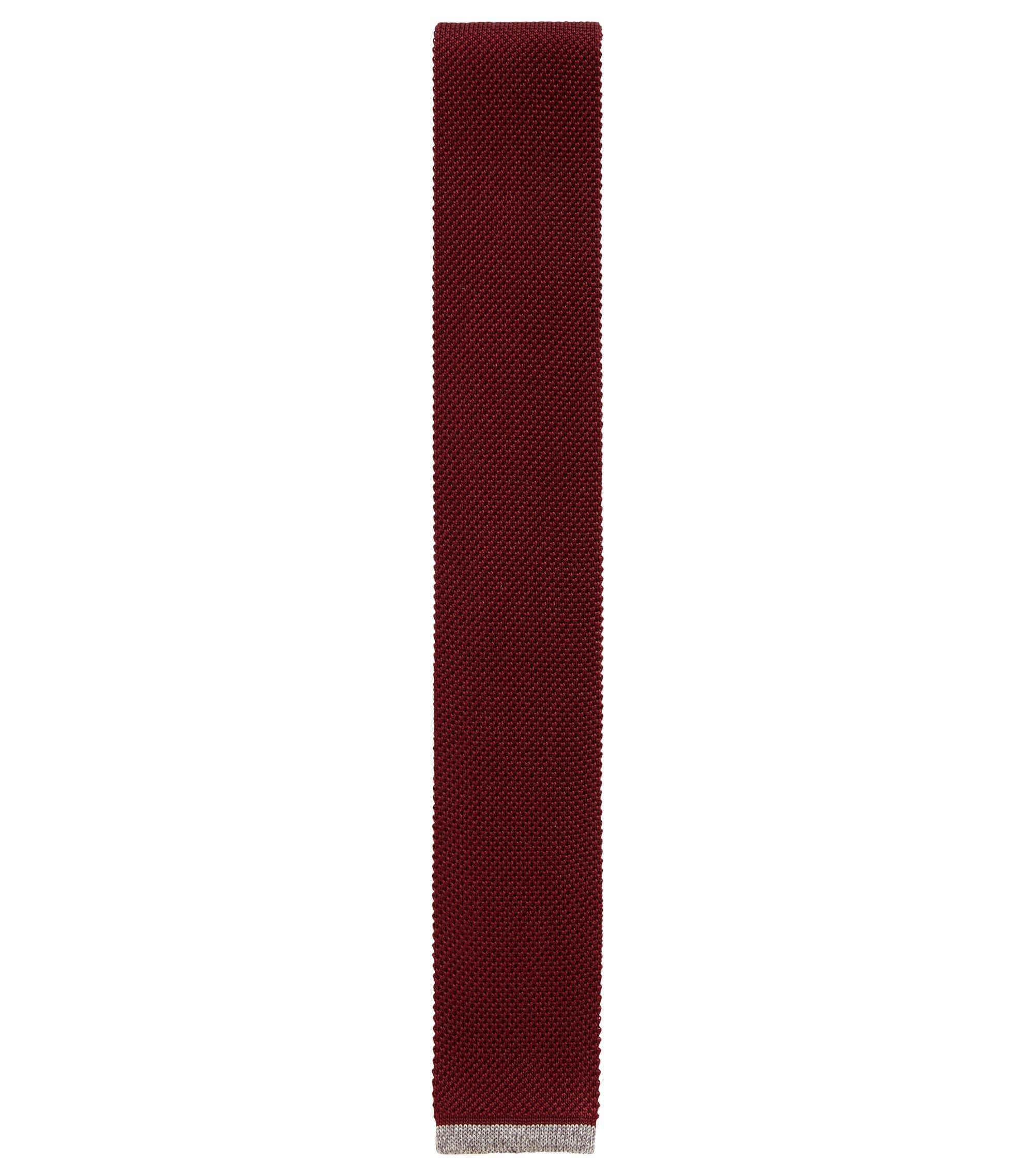 Corbata recta en piqué de seda de punto, Rojo oscuro