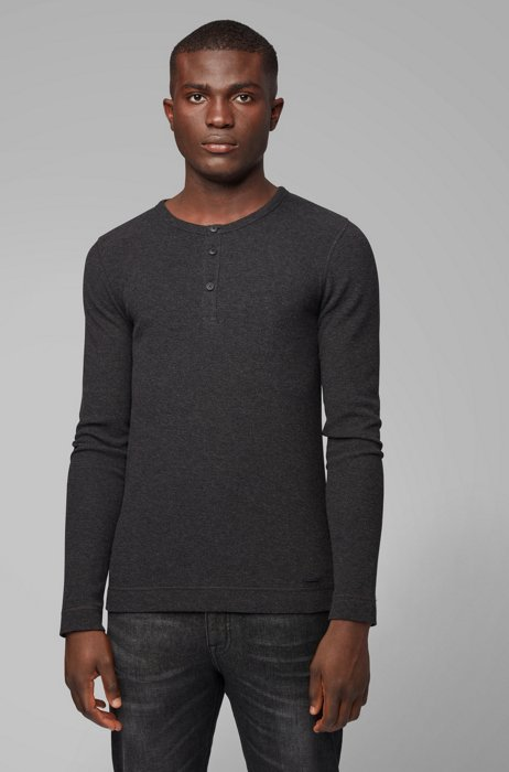 Slim-fit Henley T-shirt in heather waffle cotton, Black