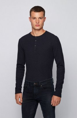 Slim-fit Henley T-shirt in heather waffle cotton, Dark Blue