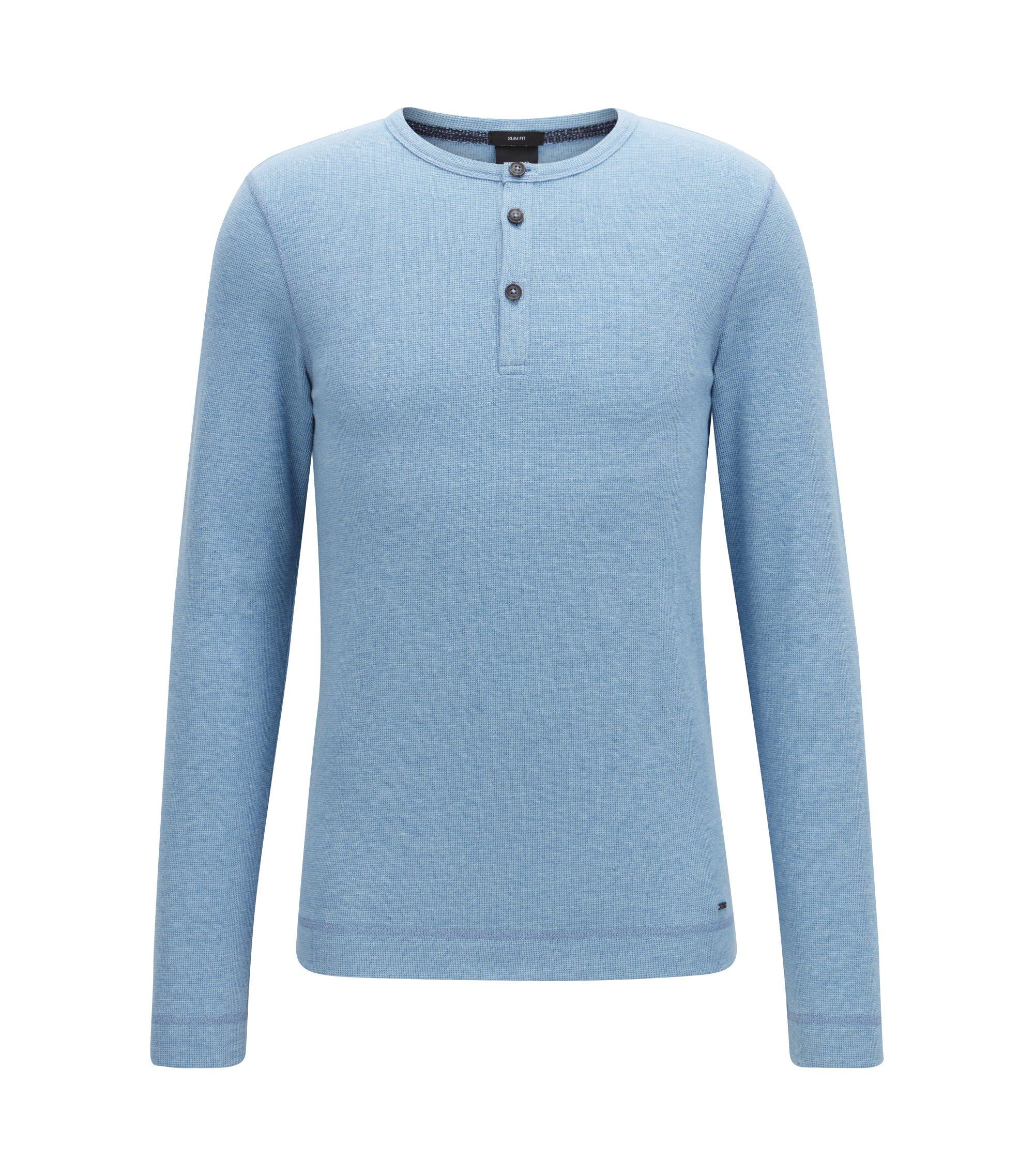 Longsleeve aus melierter Baumwolle mit Henley-Ausschnitt und Waffel-Struktur, Hellblau
