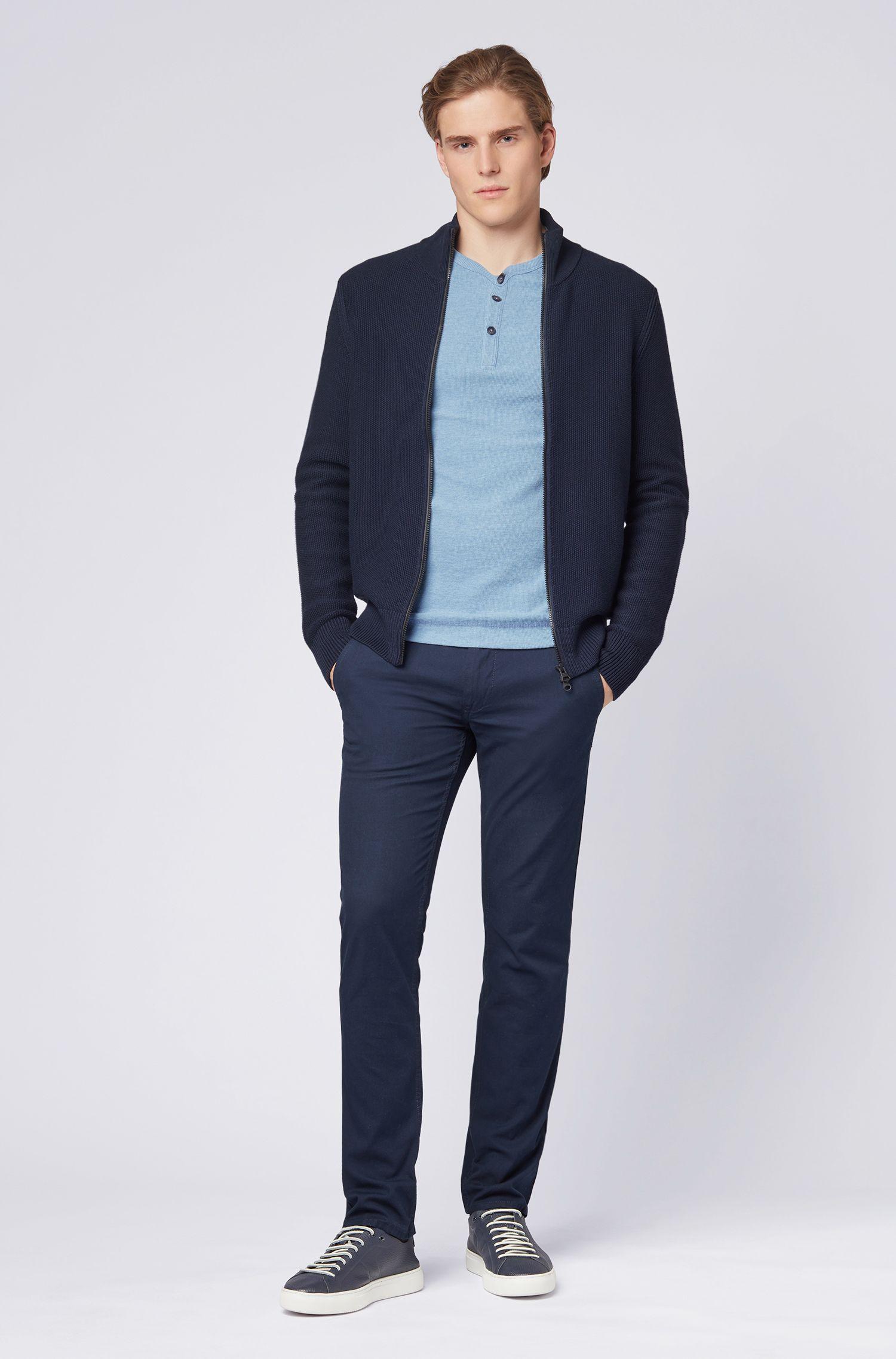 Slim-fit henley-T-shirt van gemêleerde wafelkatoen, Lichtblauw