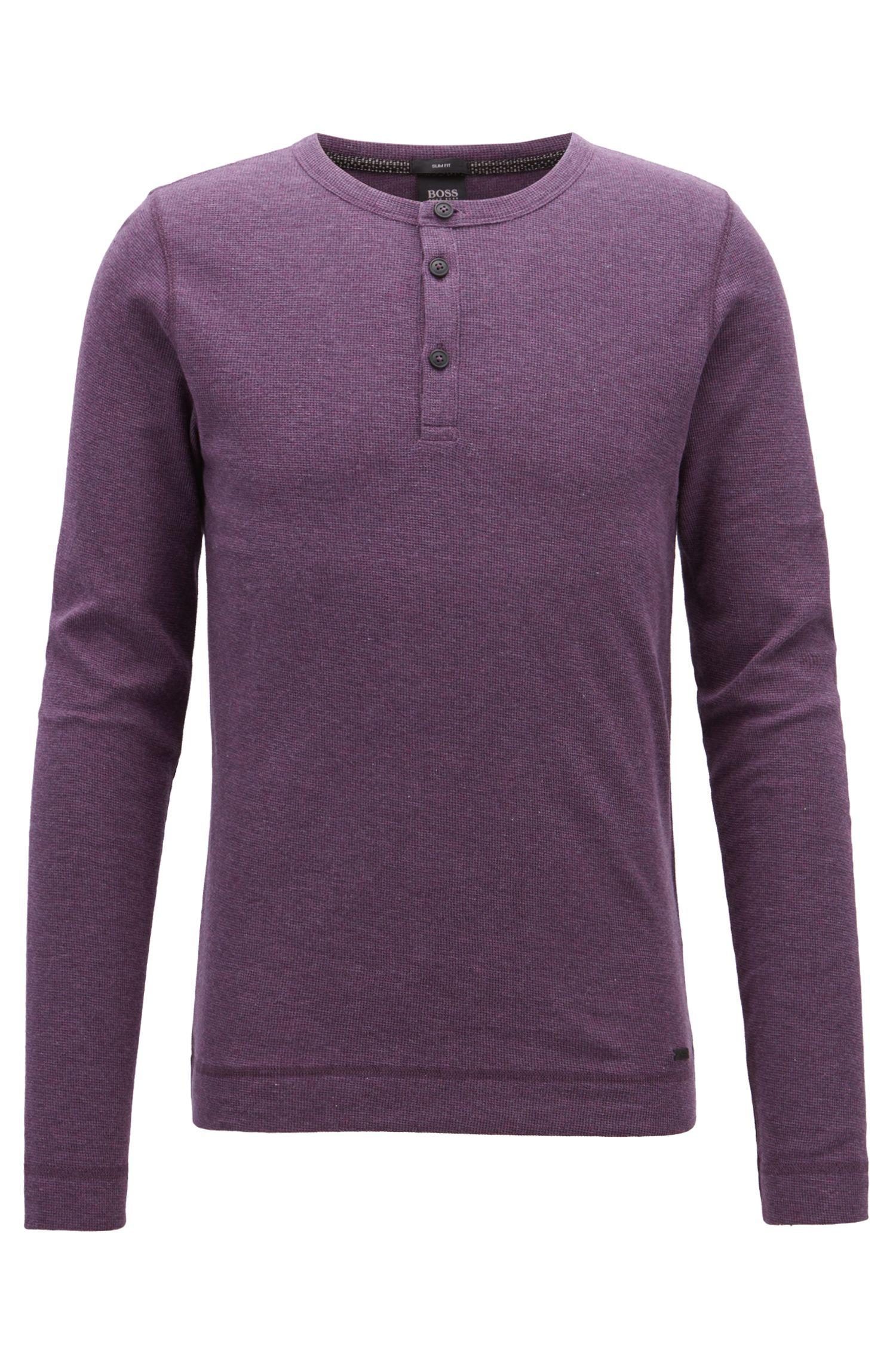 Slim-fit henley-T-shirt van gemêleerde wafelkatoen, Lichtpaars