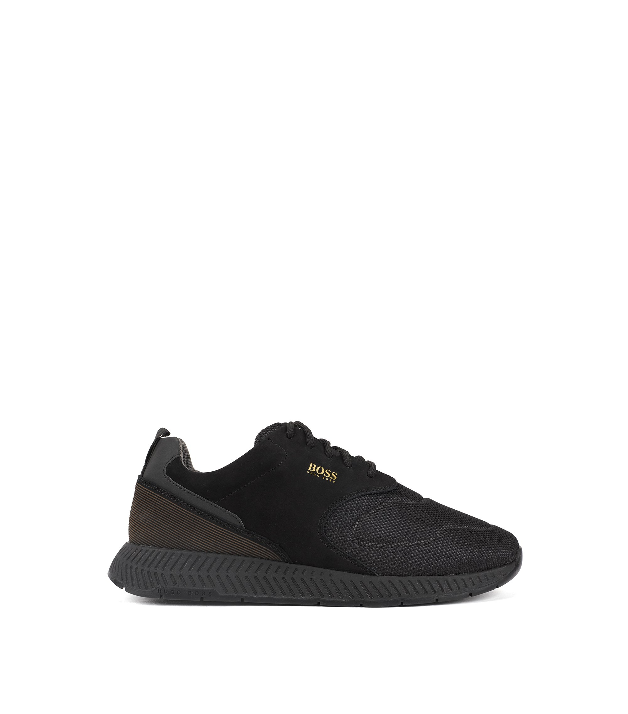 Running-inspired trainers in nubuck leather and technical fabric, Black