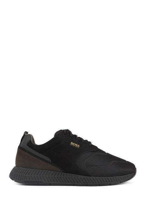 Sneakers aus Nubukleder und Material-Mix im Laufschuh-Stil, Schwarz