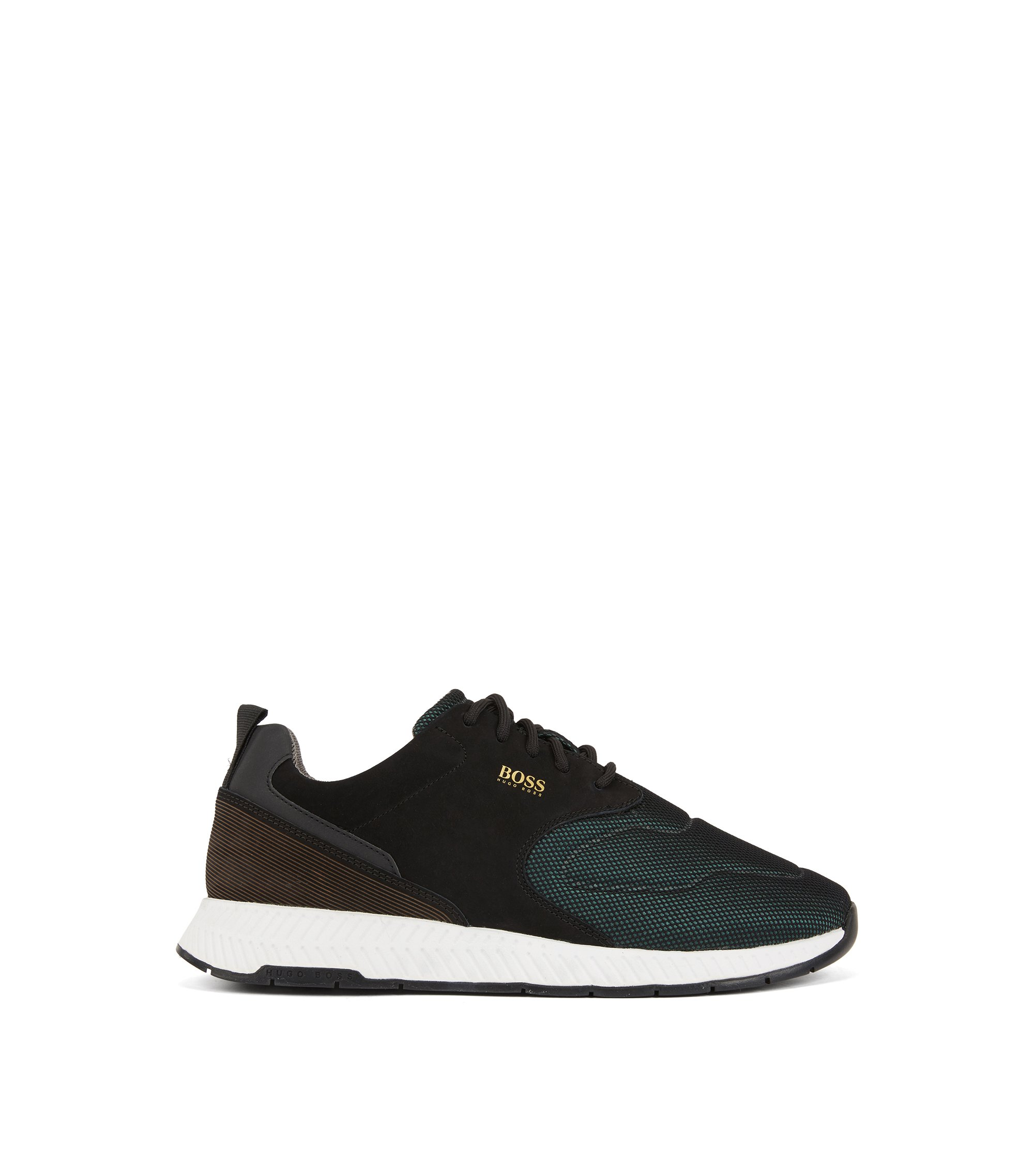 Running-inspired trainers in nubuck leather and technical fabric, Dark Green