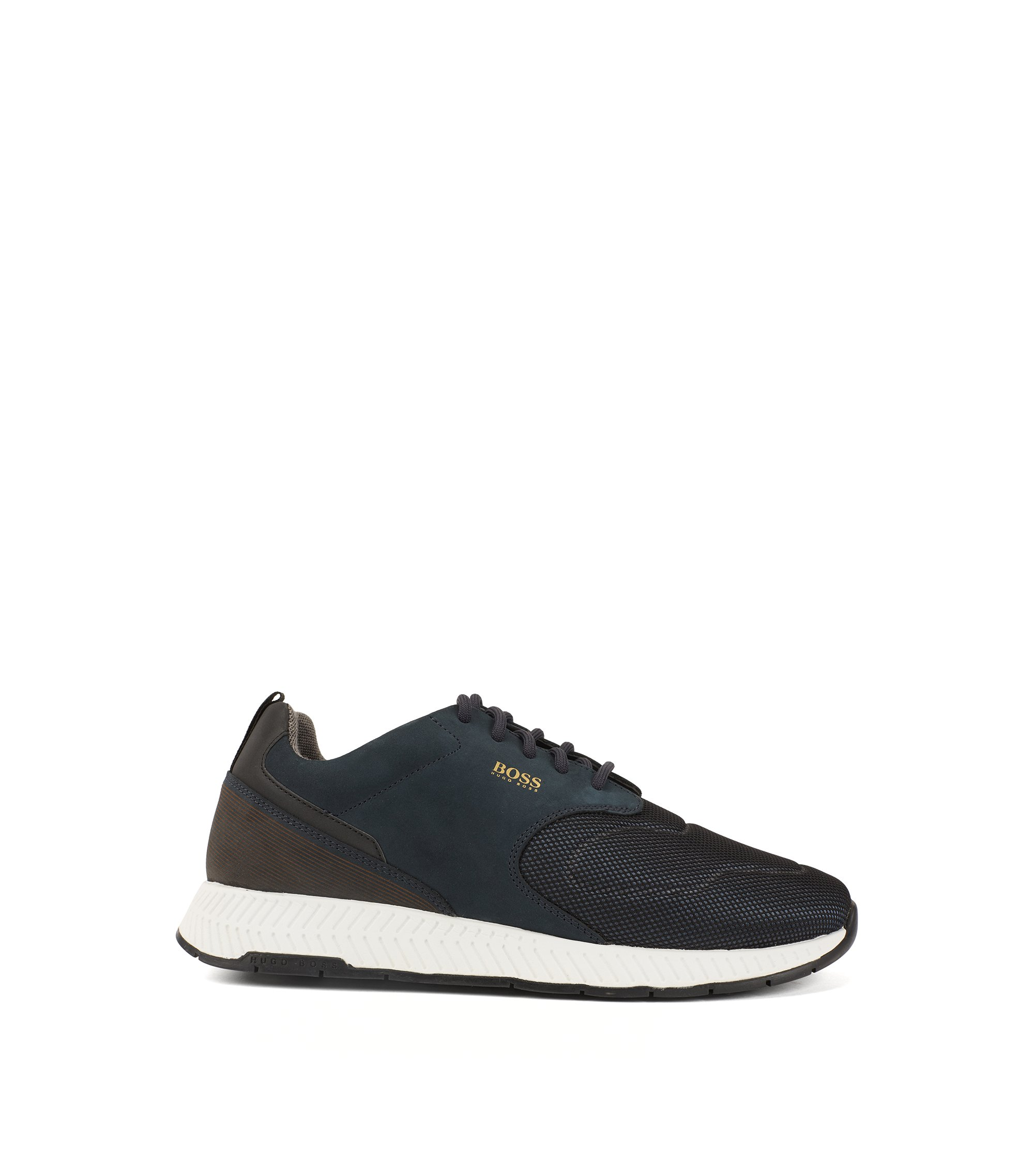Running-inspired trainers in nubuck leather and technical fabric, Dark Blue