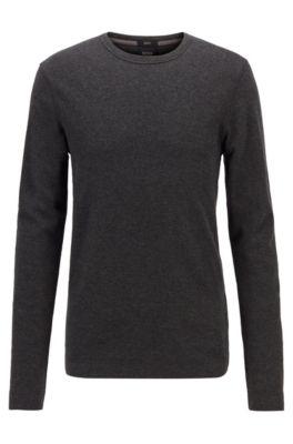 T-shirt slim fit a maniche lunghe in cotone con lavorazione a nido d'ape, Nero